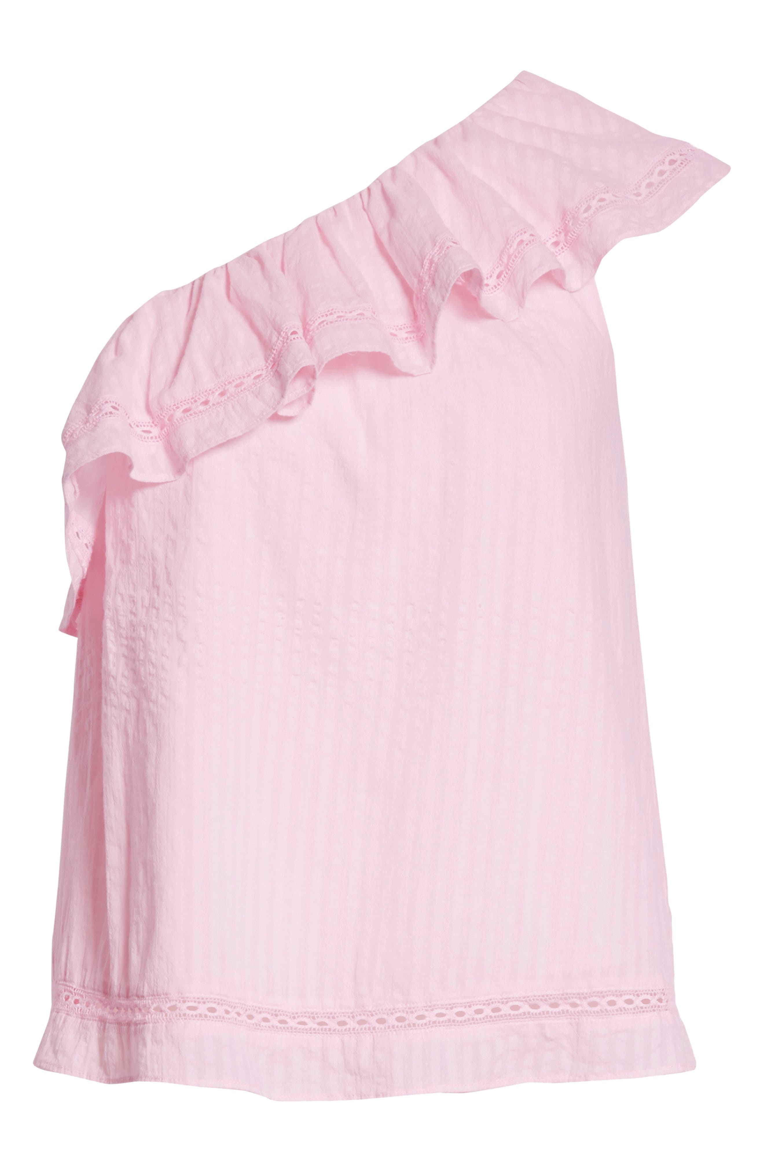 puckered cotton one-shoulder top,                             Alternate thumbnail 6, color,