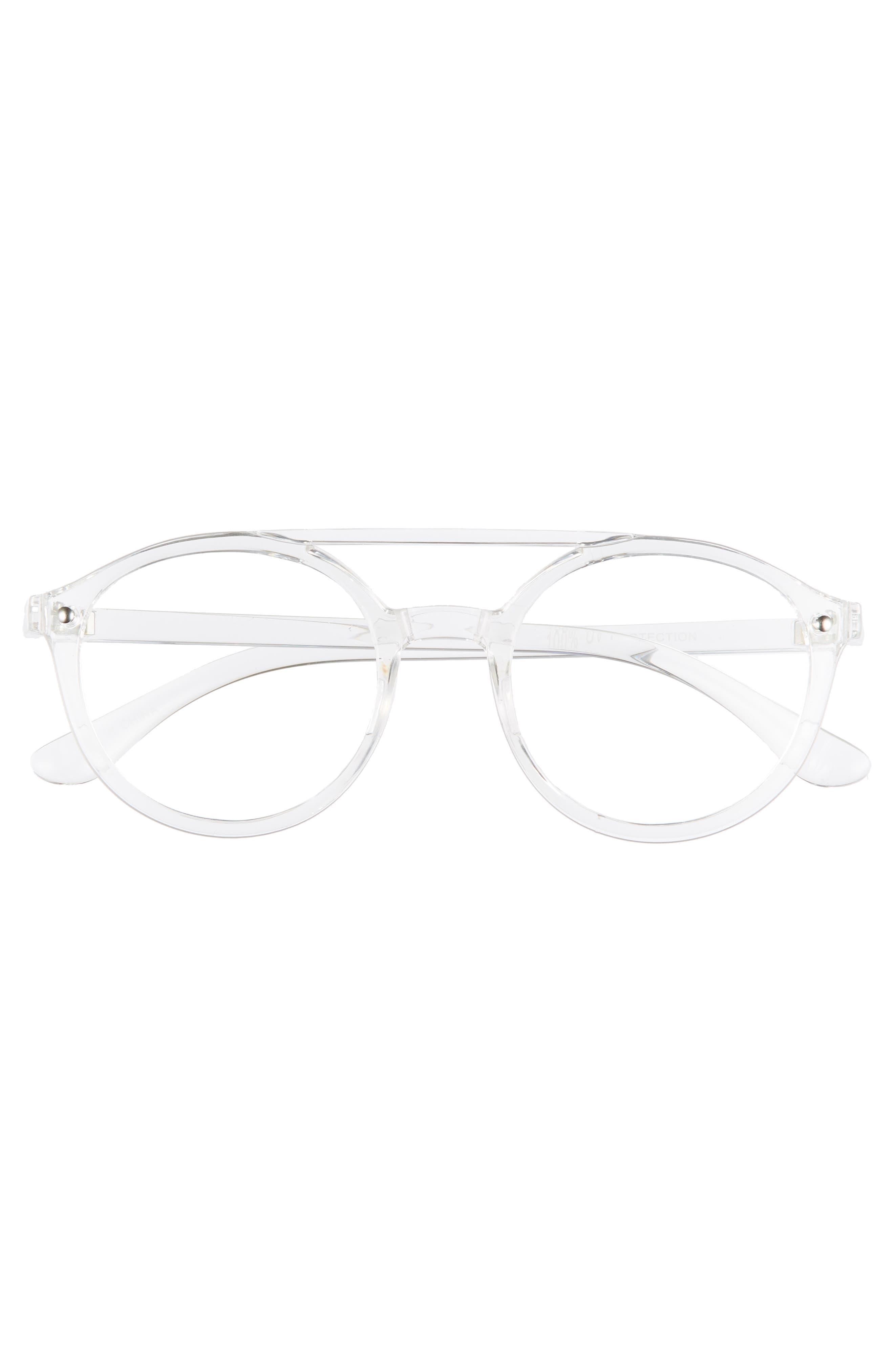 54mm Aviator Fashion Glasses,                             Alternate thumbnail 3, color,                             CLEAR