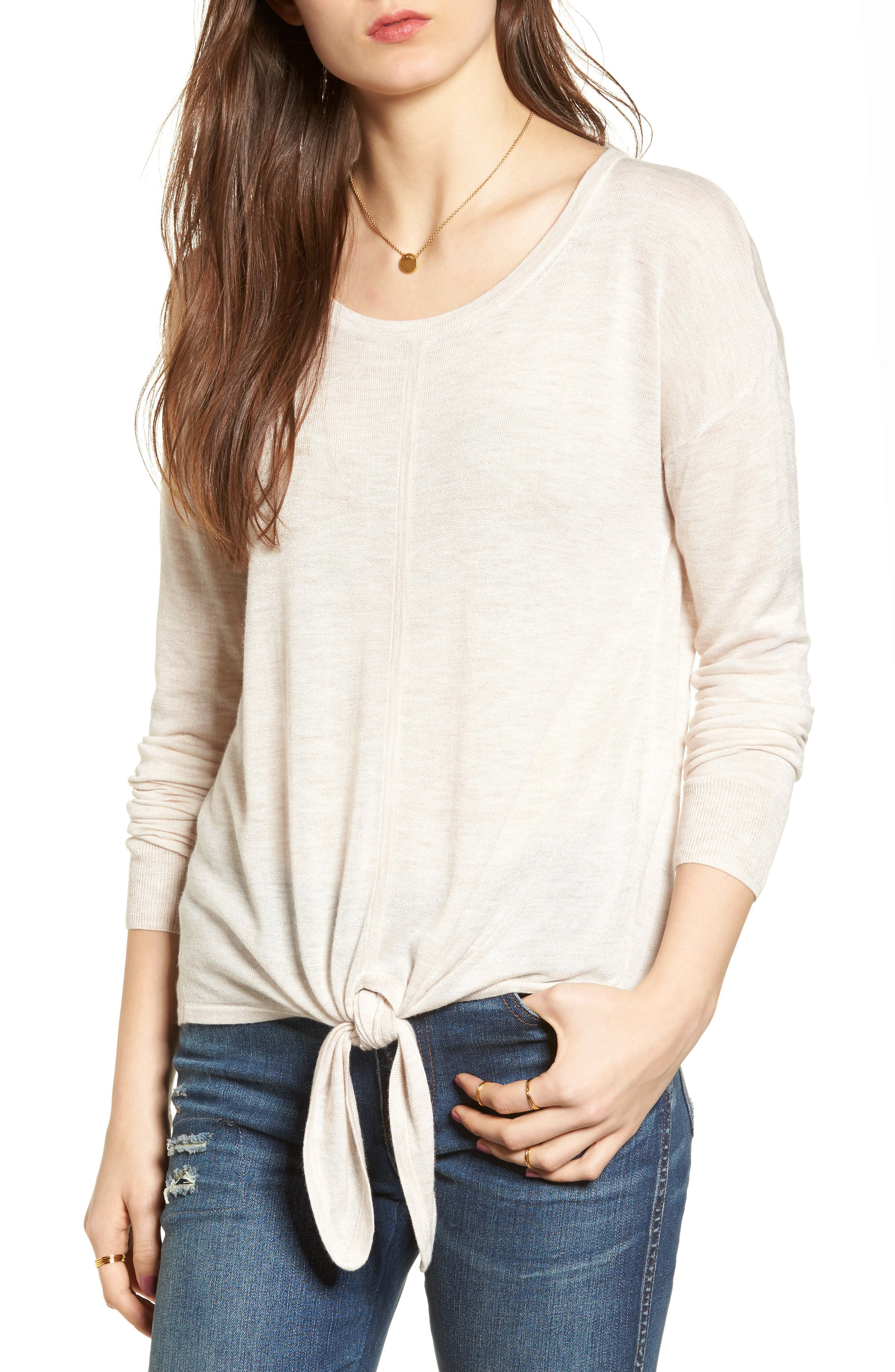 Modern Tie Front Sweater,                             Main thumbnail 2, color,