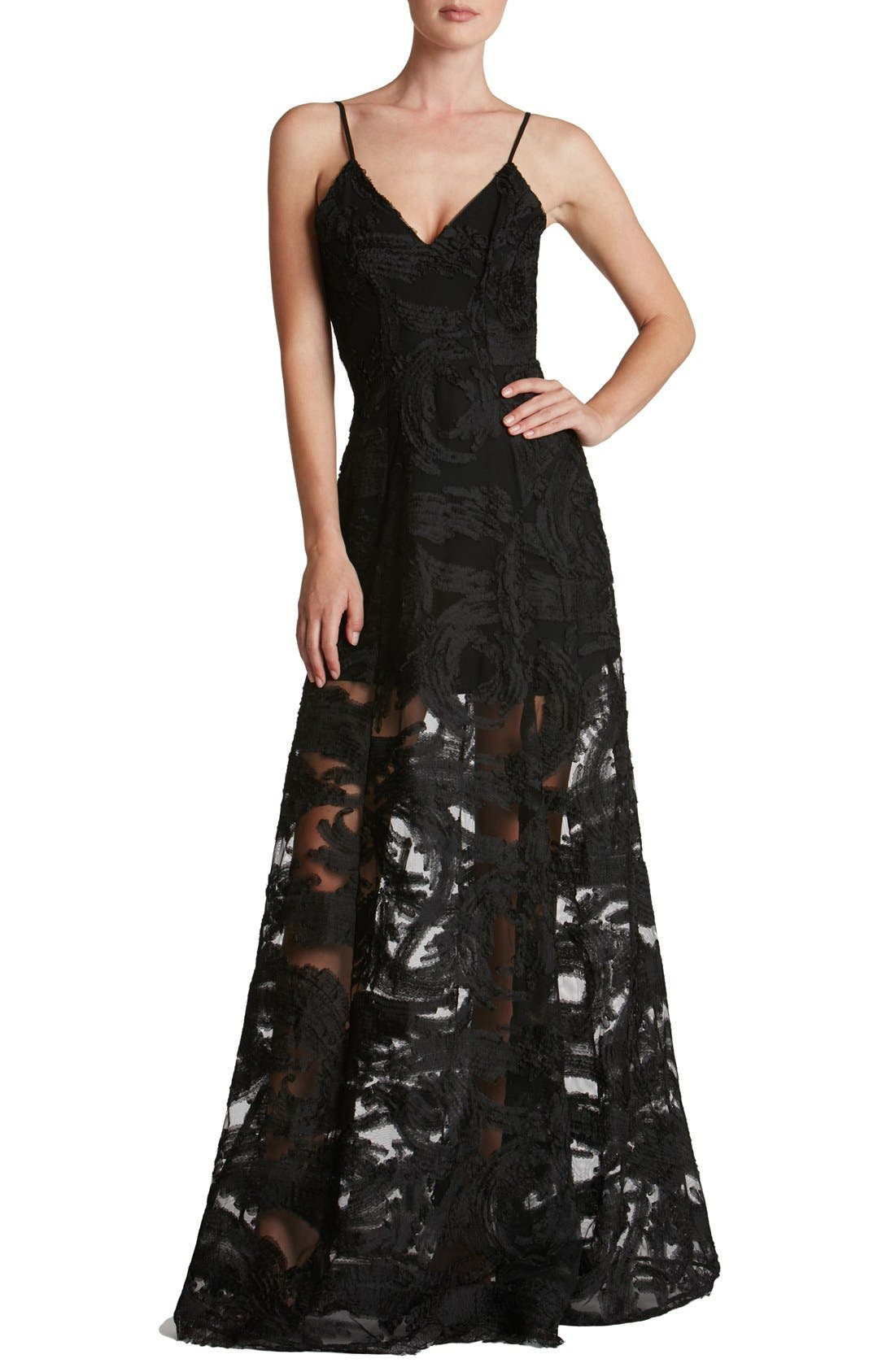 'Florence' Woven Fit & Flare Gown,                             Main thumbnail 1, color,                             001