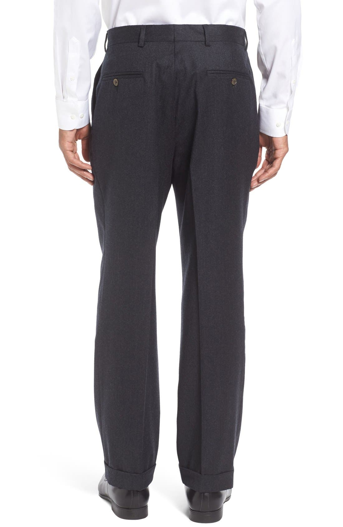 Pleated Solid Wool Trousers,                             Alternate thumbnail 3, color,                             021