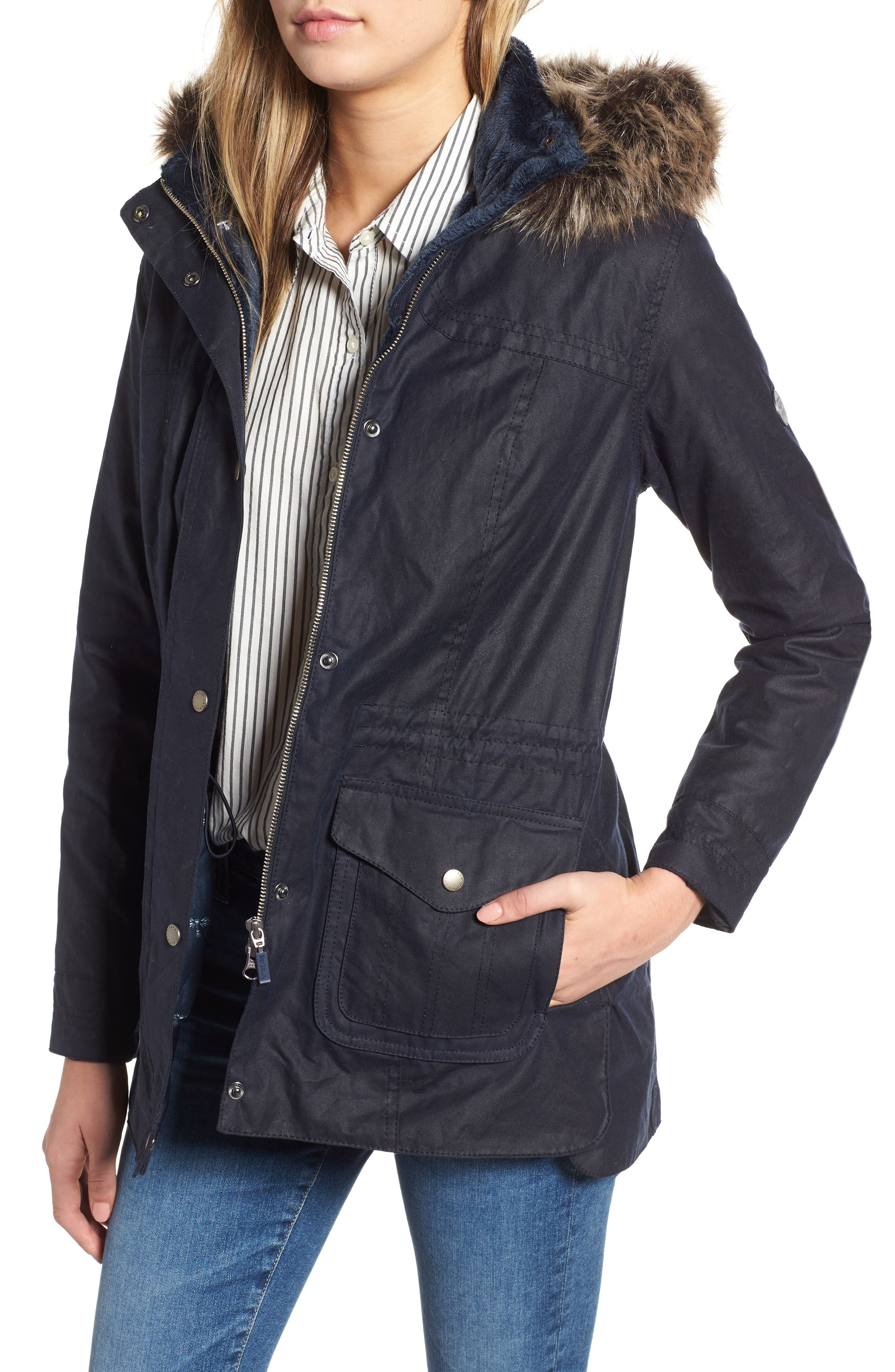 Southwold Jacket with Faux Fur Lining & Trim, Main, color, ROYAL NAVY