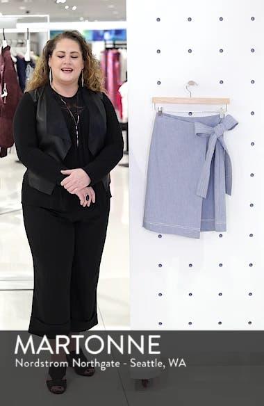 Wrap Style Chambray Linen Blend Miniskirt, sales video thumbnail