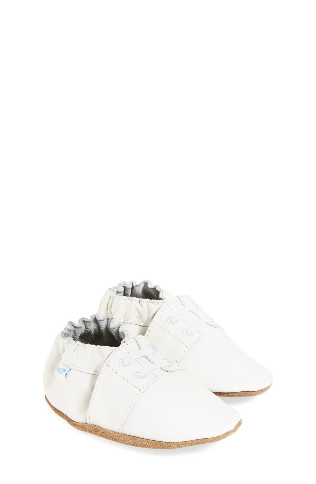'Special Occasion' Crib Shoe,                             Main thumbnail 1, color,                             WHITE