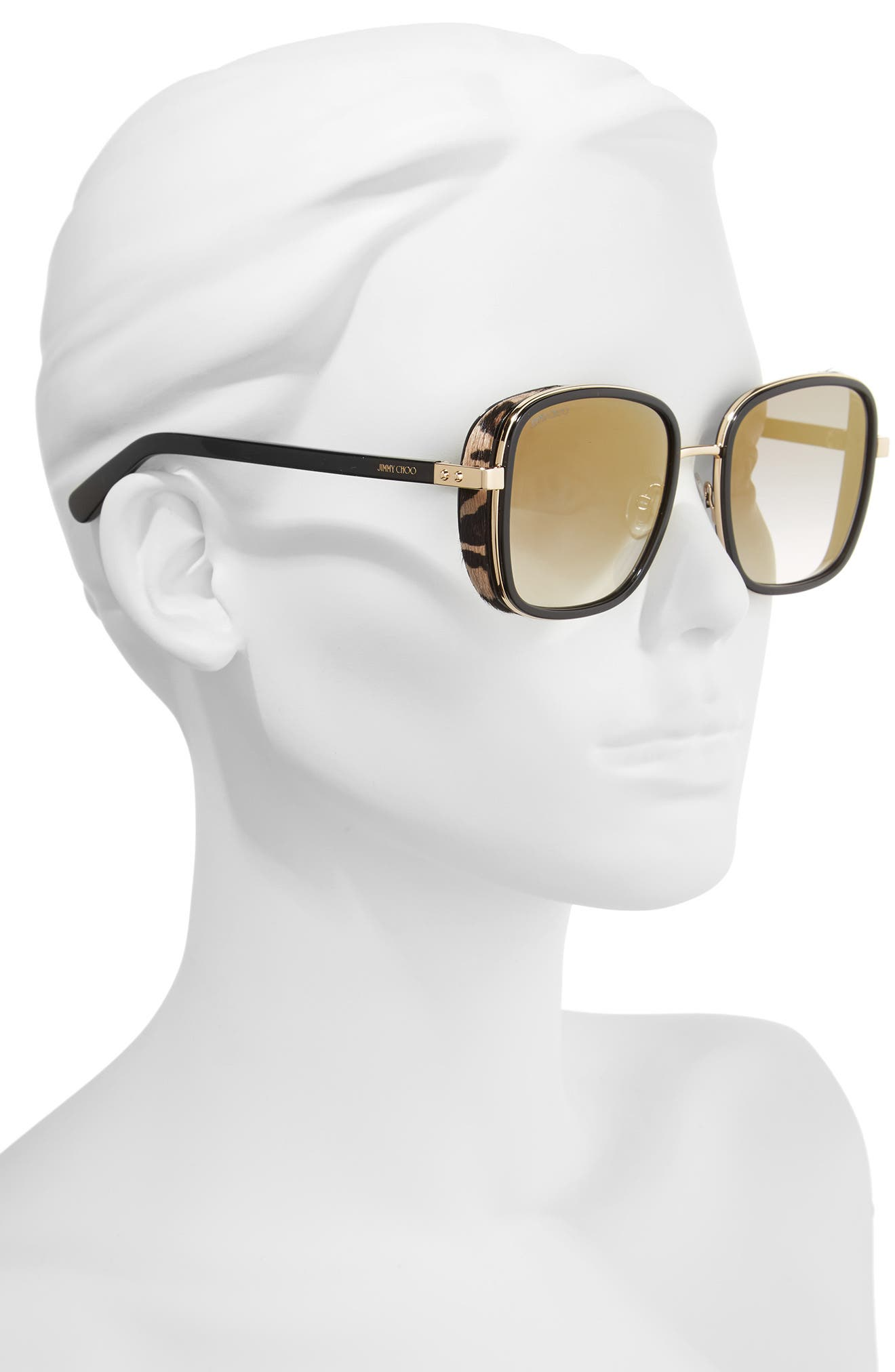 Elva 54mm Square Sunglasses,                             Alternate thumbnail 2, color,                             BLACK/ GOLD/ LEOPARD