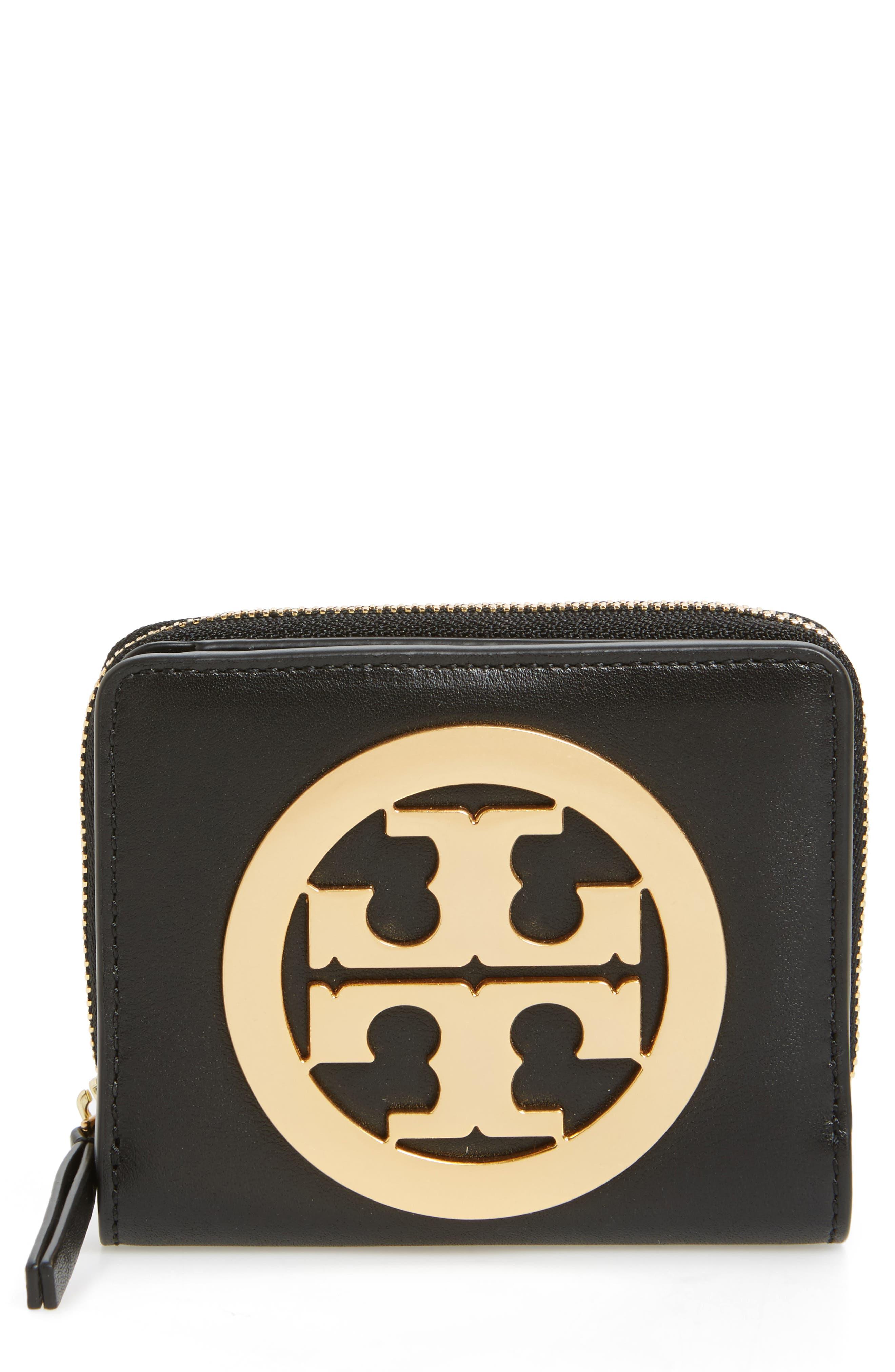 Mini Charlie Leather Wallet,                             Main thumbnail 1, color,                             001