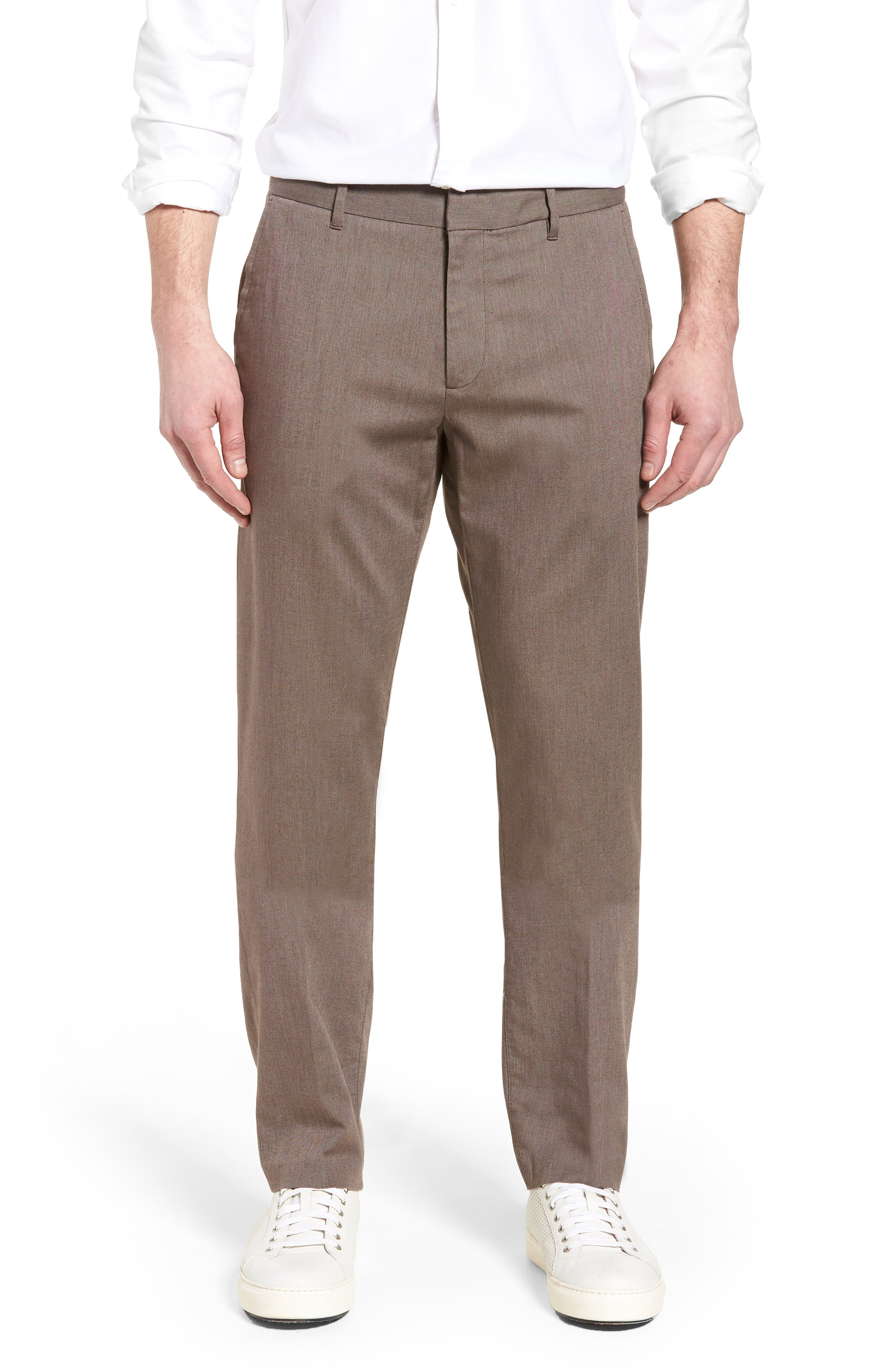 Weekday Warrior Flat Front Stretch Cotton Pants,                         Main,                         color, 200