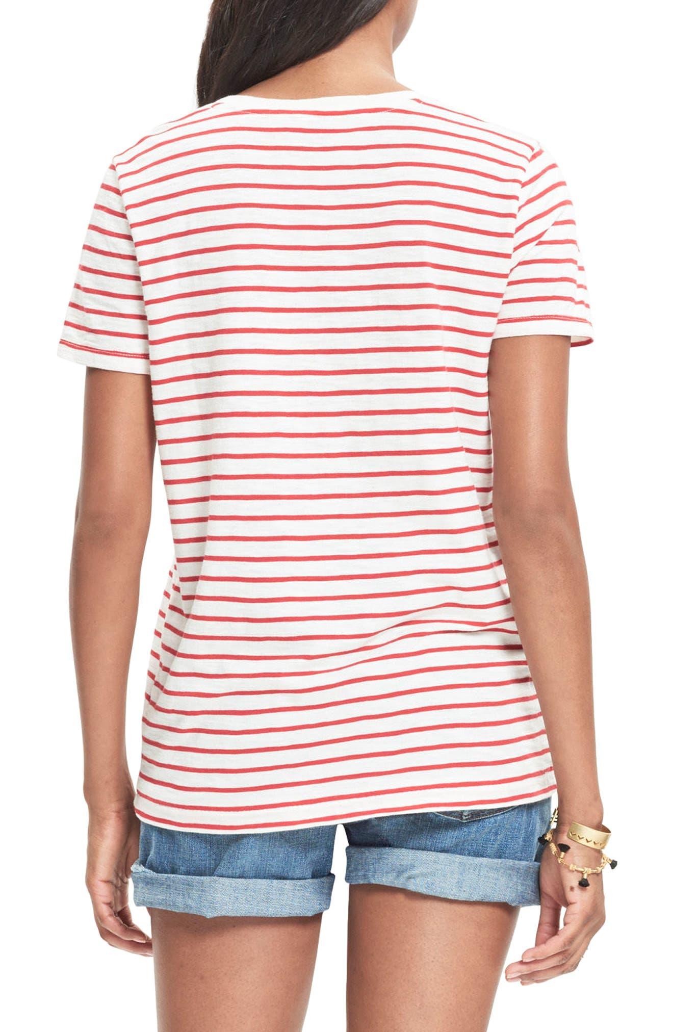 Whisper Cotton Stripe V-Neck Tee,                             Alternate thumbnail 2, color,                             601