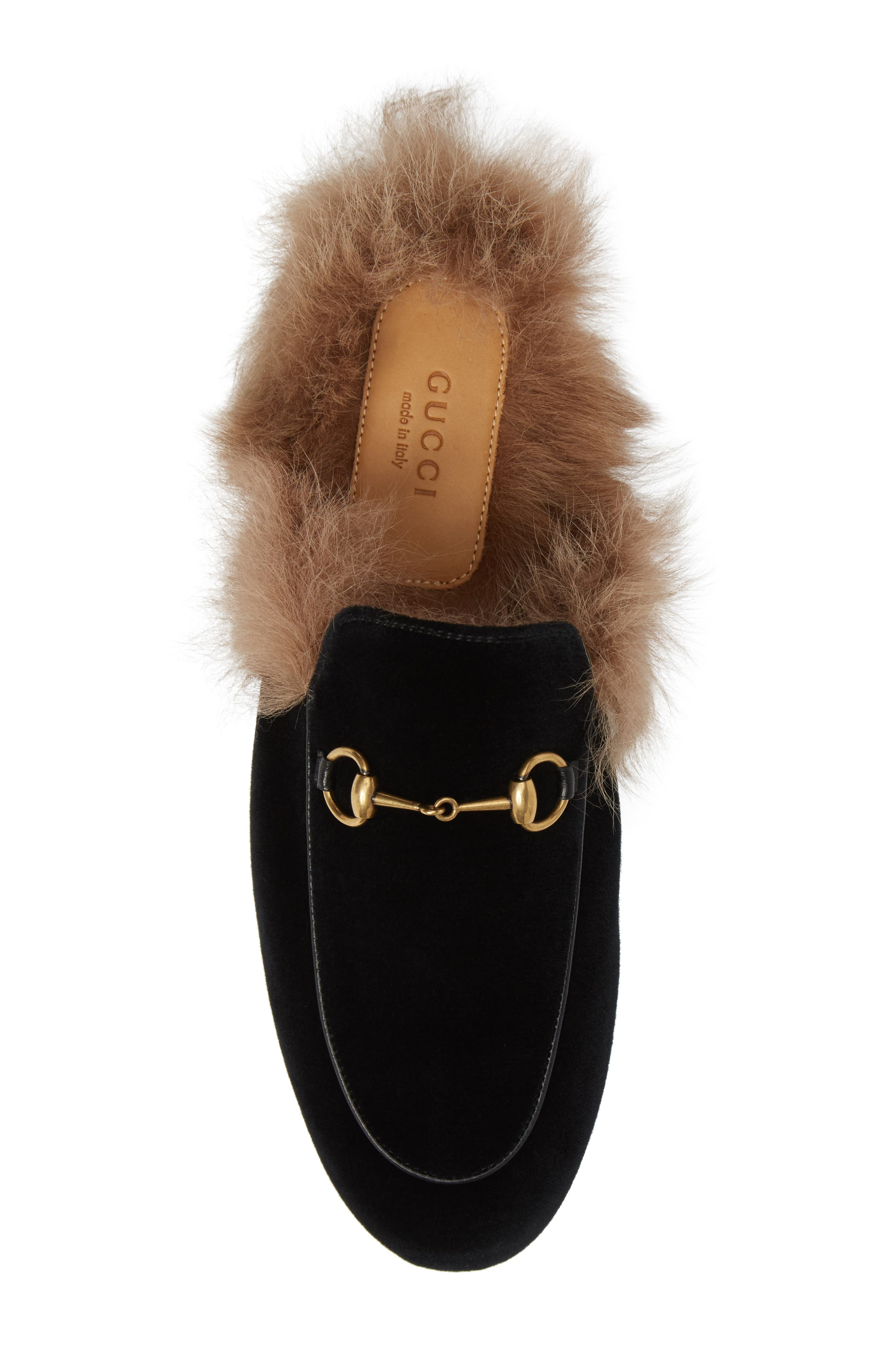 Princetown Genuine Shearling Mule Loafer,                             Alternate thumbnail 5, color,                             001