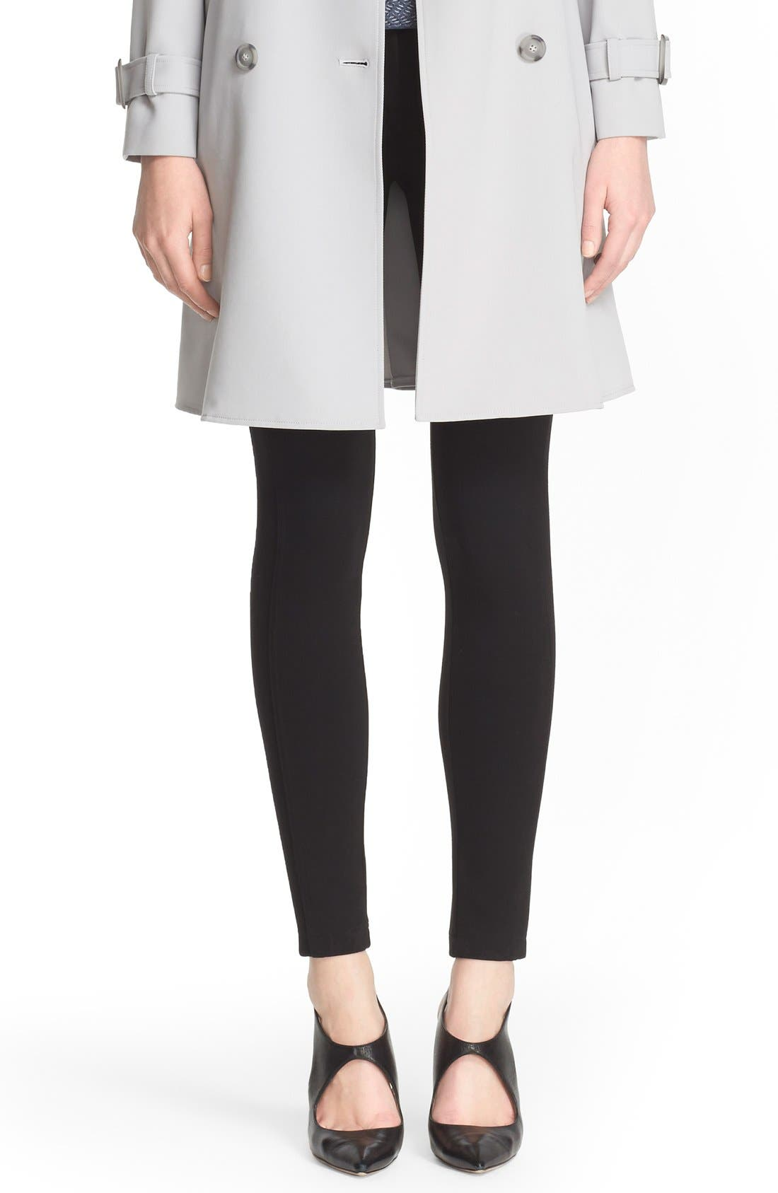 Armani Collezioni Double Face Jersey Leggings,                             Alternate thumbnail 7, color,                             004