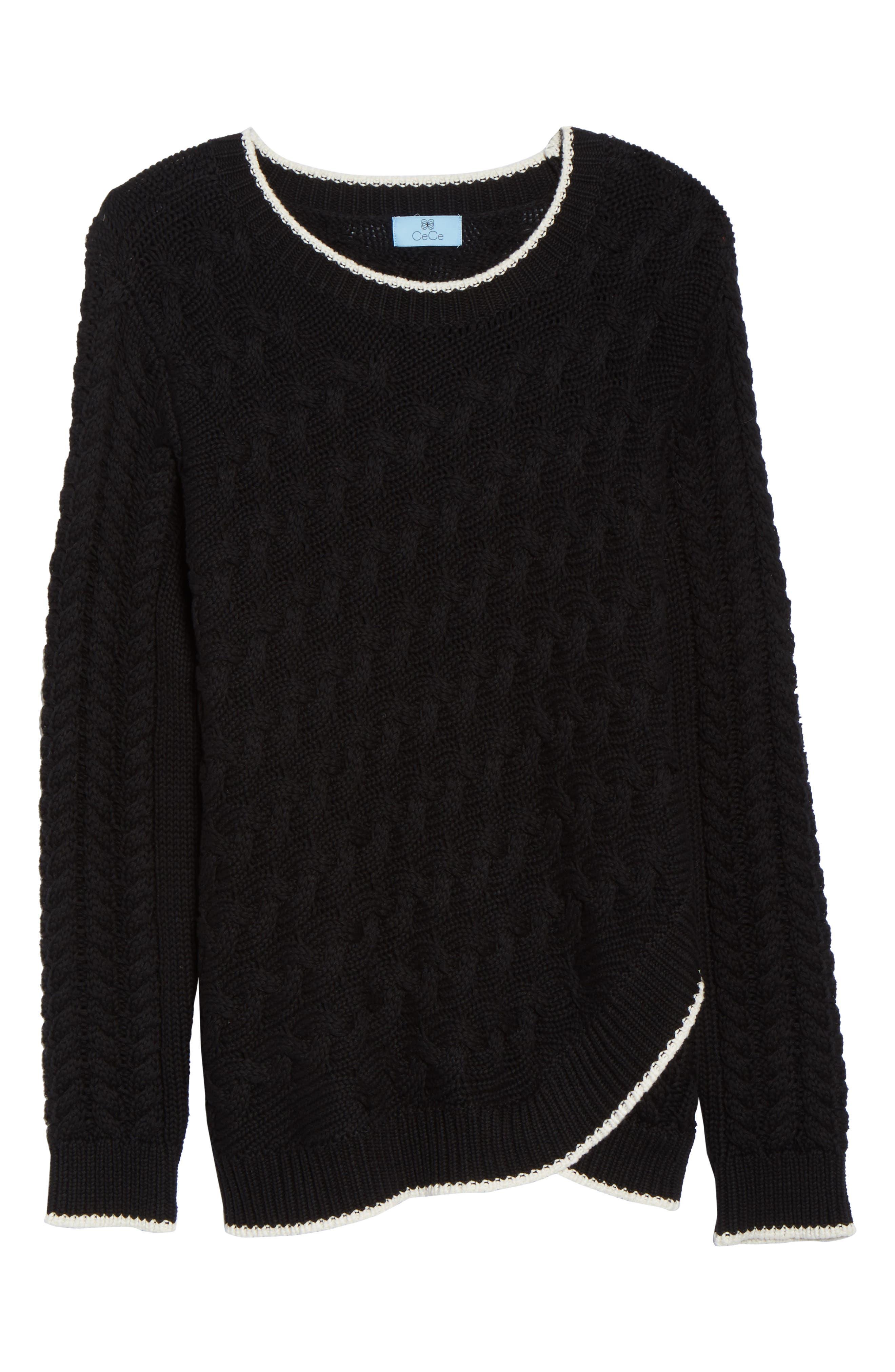 Contrast Trim Cable Sweater,                             Alternate thumbnail 6, color,                             RICH BLACK