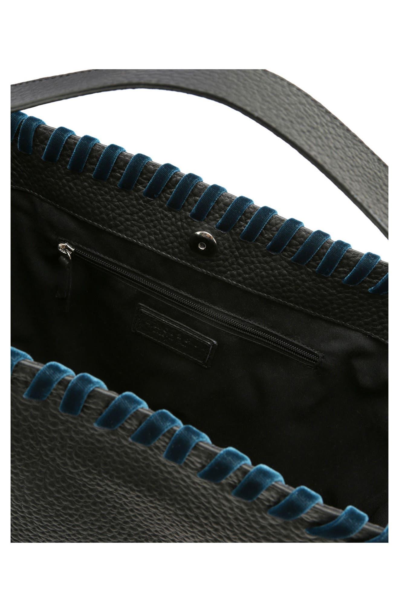 Noona Velvet Trim Calfskin Leather Tote,                             Alternate thumbnail 3, color,                             001