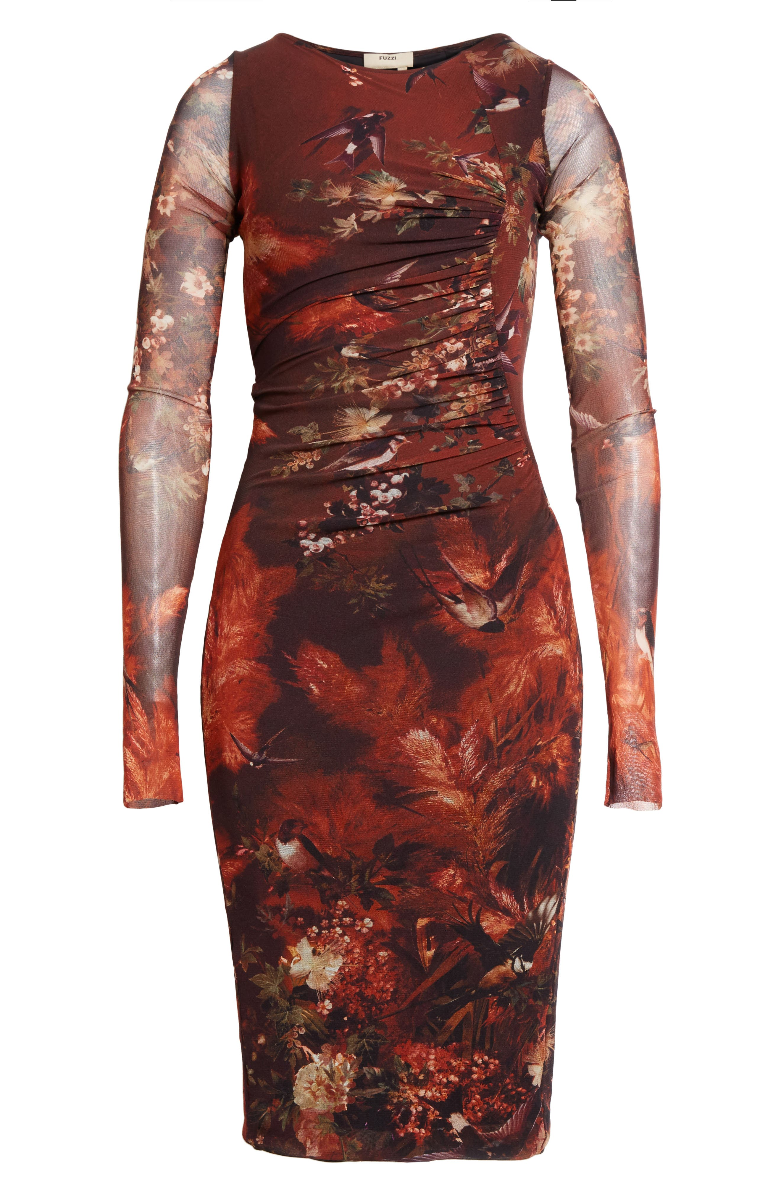 Hummingbird Print Ruched Tulle Dress,                             Alternate thumbnail 6, color,                             610