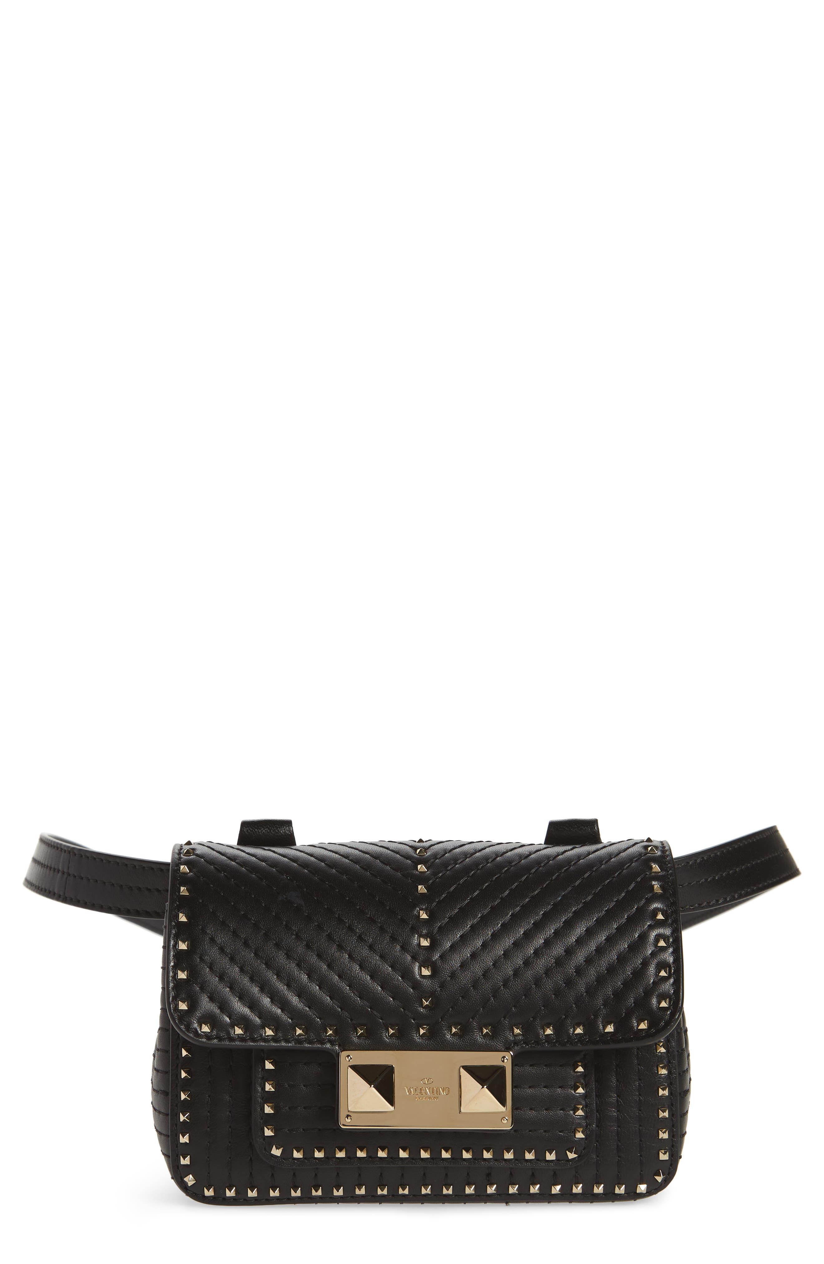 Mini Ziggystud Leather Convertible Crossbody/Belt Bag,                             Main thumbnail 1, color,                             001