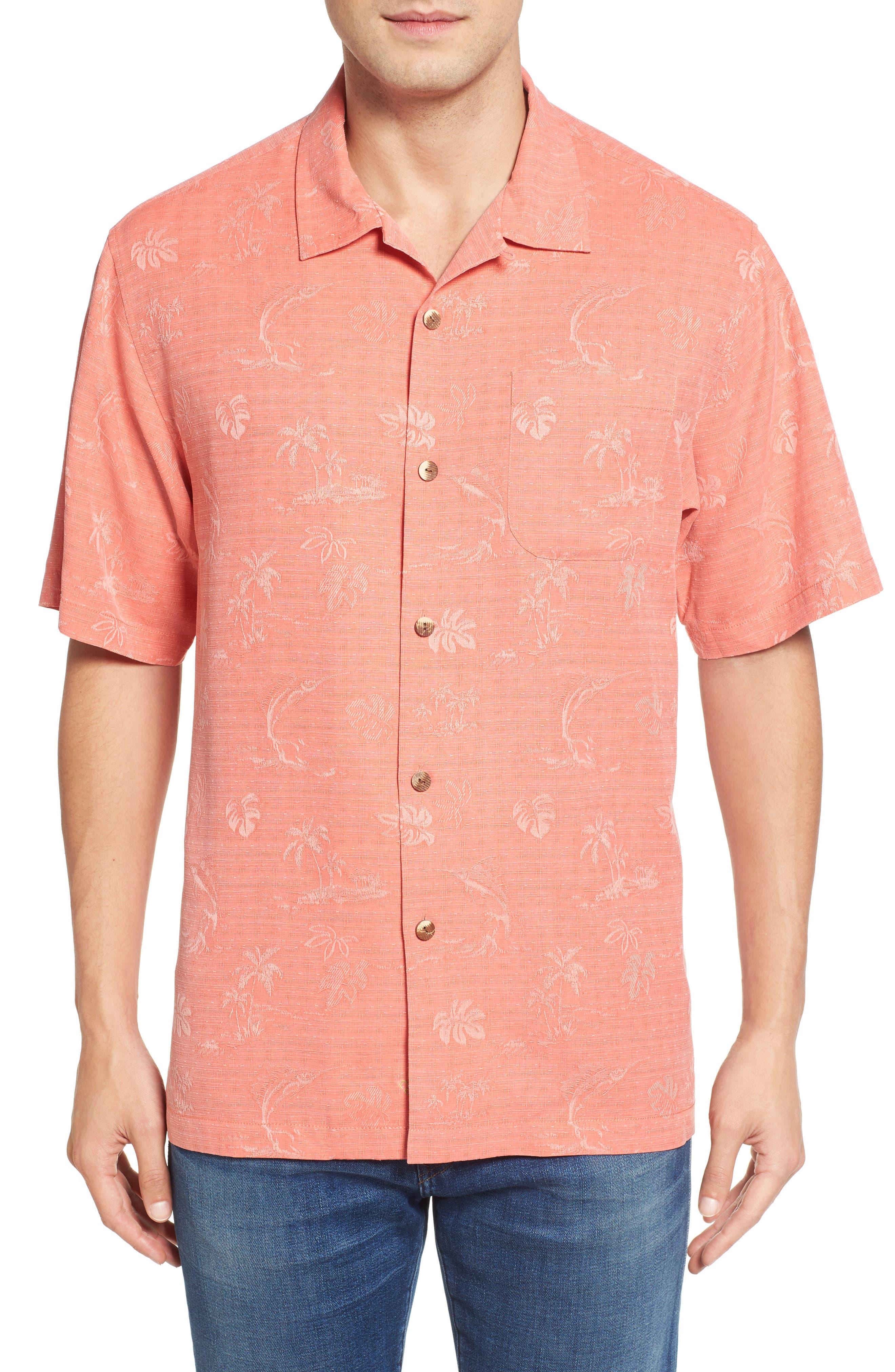 Gulf Shore Marlin Silk Camp Shirt,                             Main thumbnail 5, color,