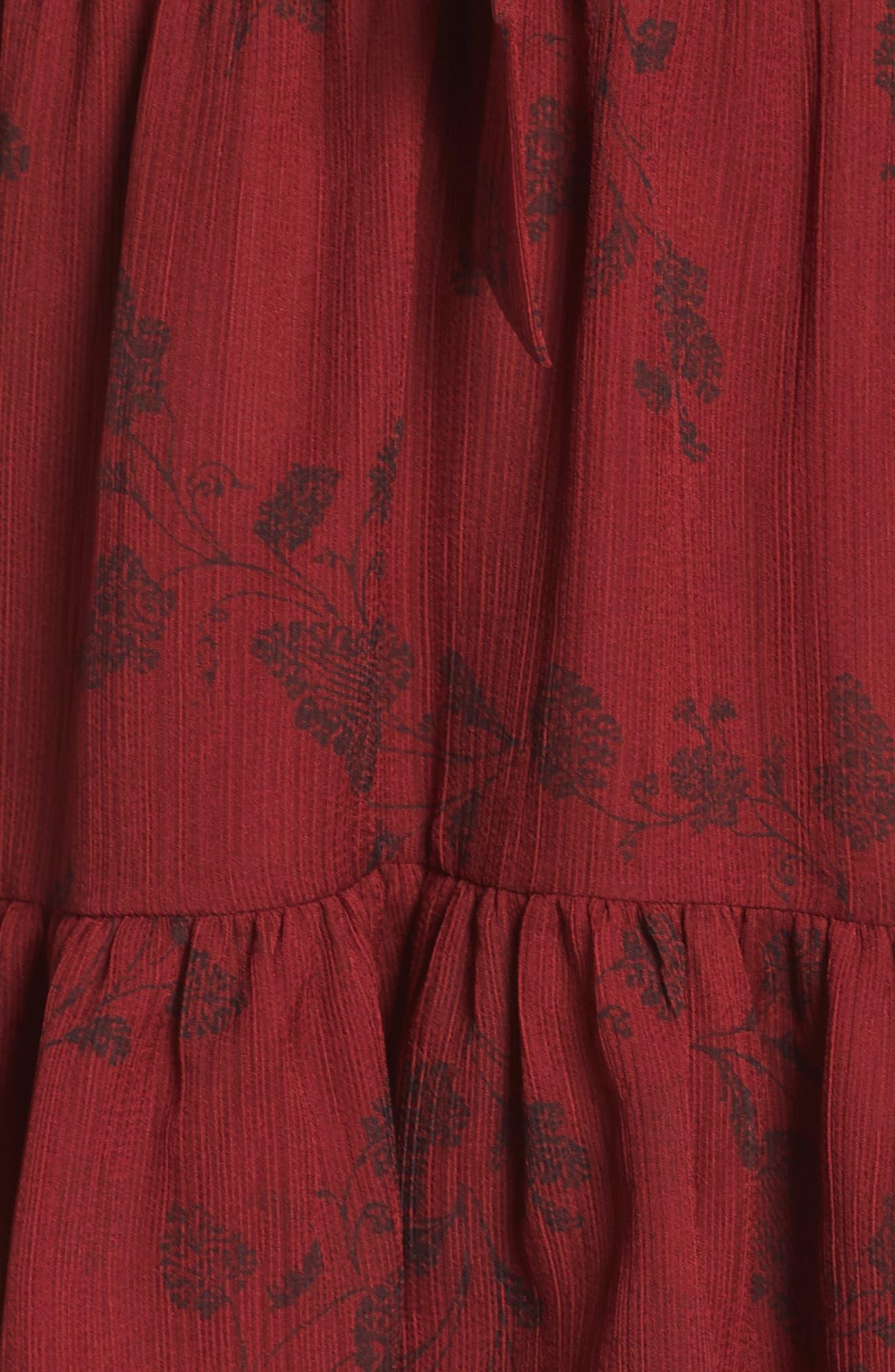 BB DAKOTA,                             Wine Down Print Chiffon Dress,                             Alternate thumbnail 6, color,                             SUNDRIED TOMATO