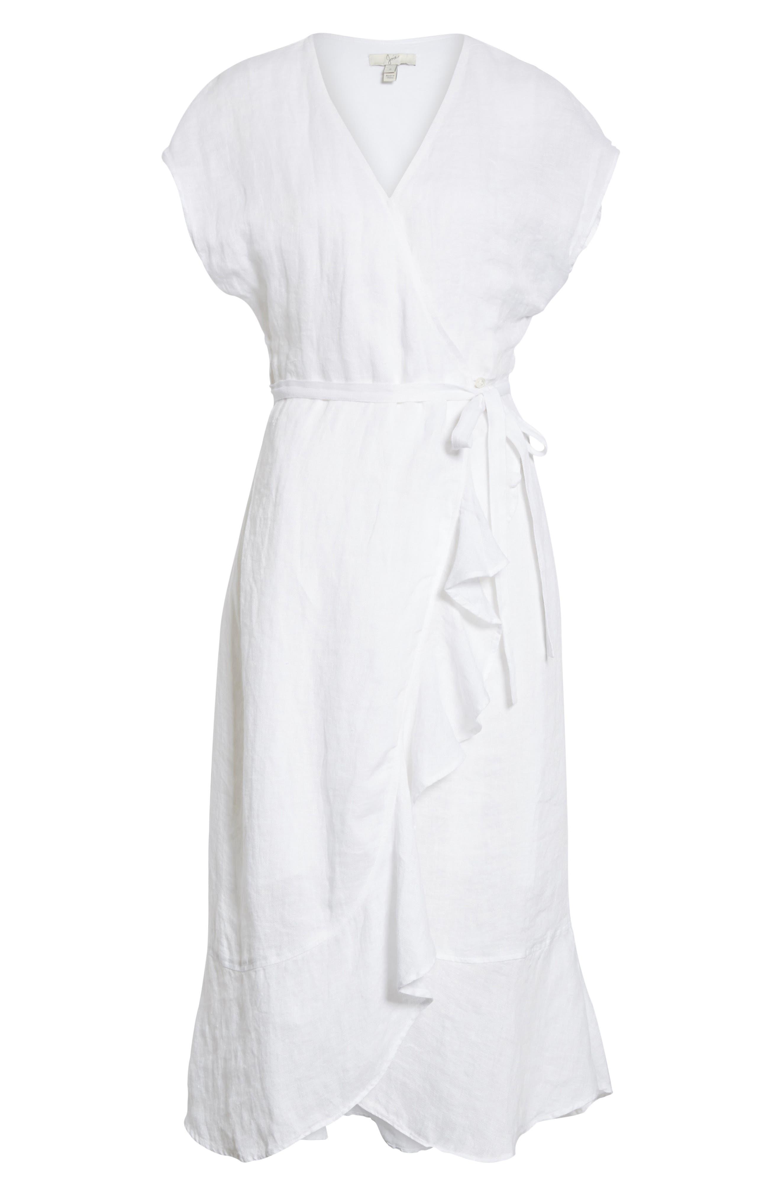 Filma Back Cutout Linen Wrap Dress,                             Alternate thumbnail 6, color,                             PORCELAIN