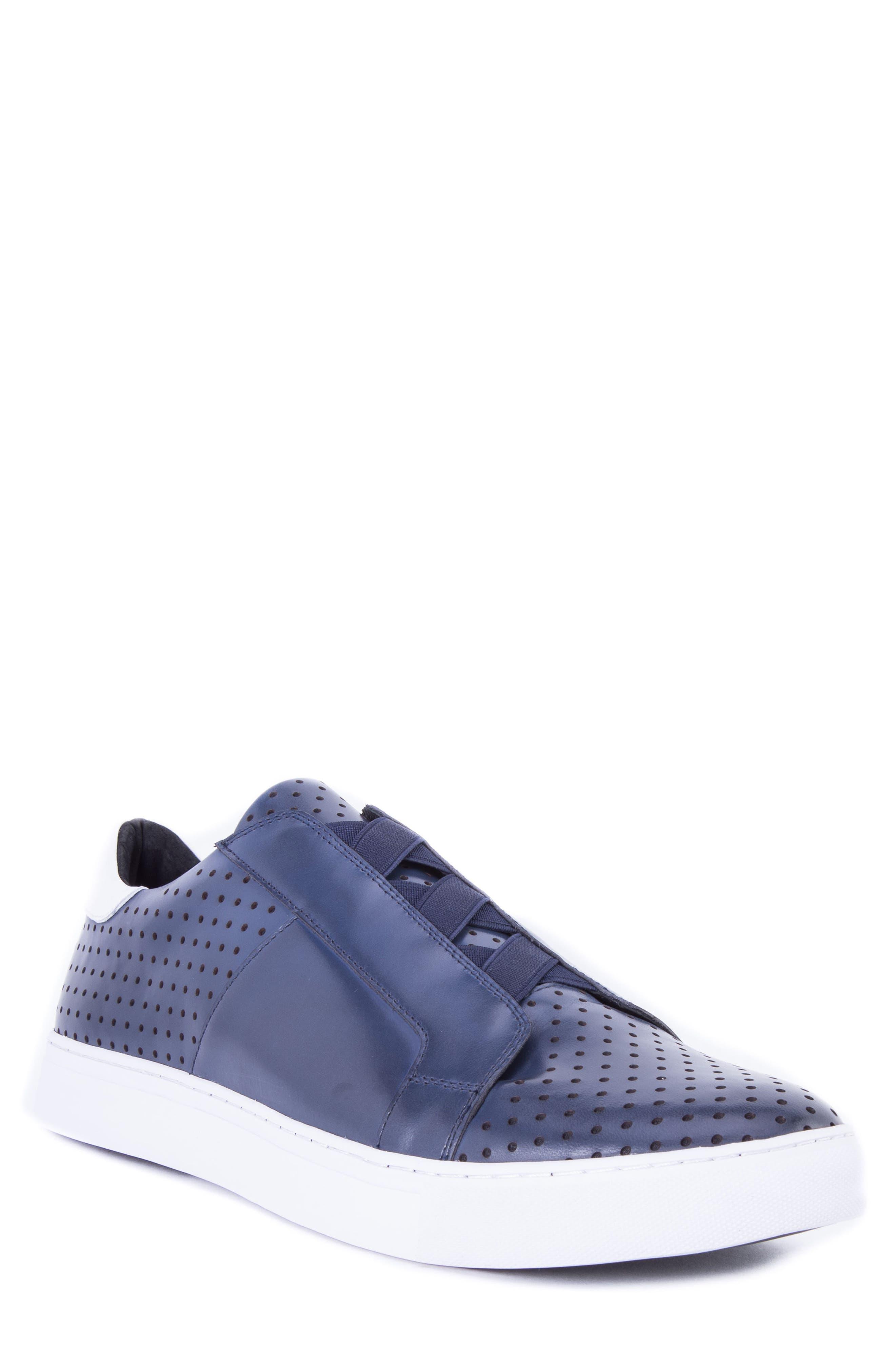 Robert Graham Rowley Perforated Laceless Sneaker, Blue