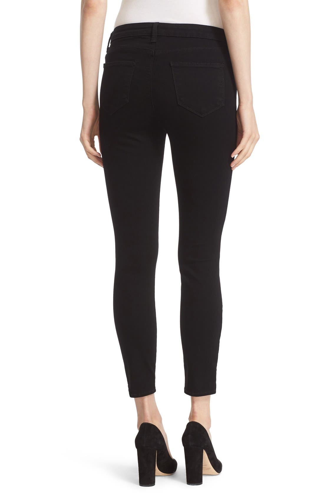 'Andrea' Ankle Zip Skinny Jeans,                             Alternate thumbnail 3, color,                             001