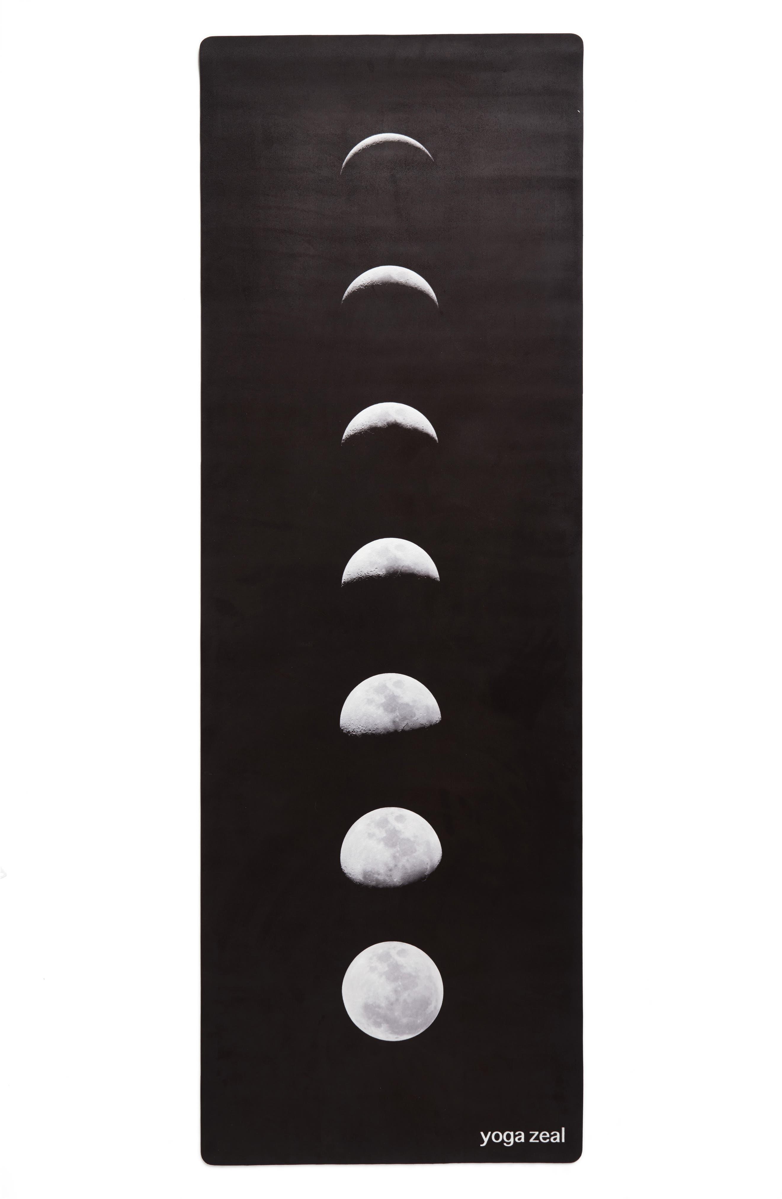 Lunar Print Yoga Mat,                             Main thumbnail 1, color,                             BLACK