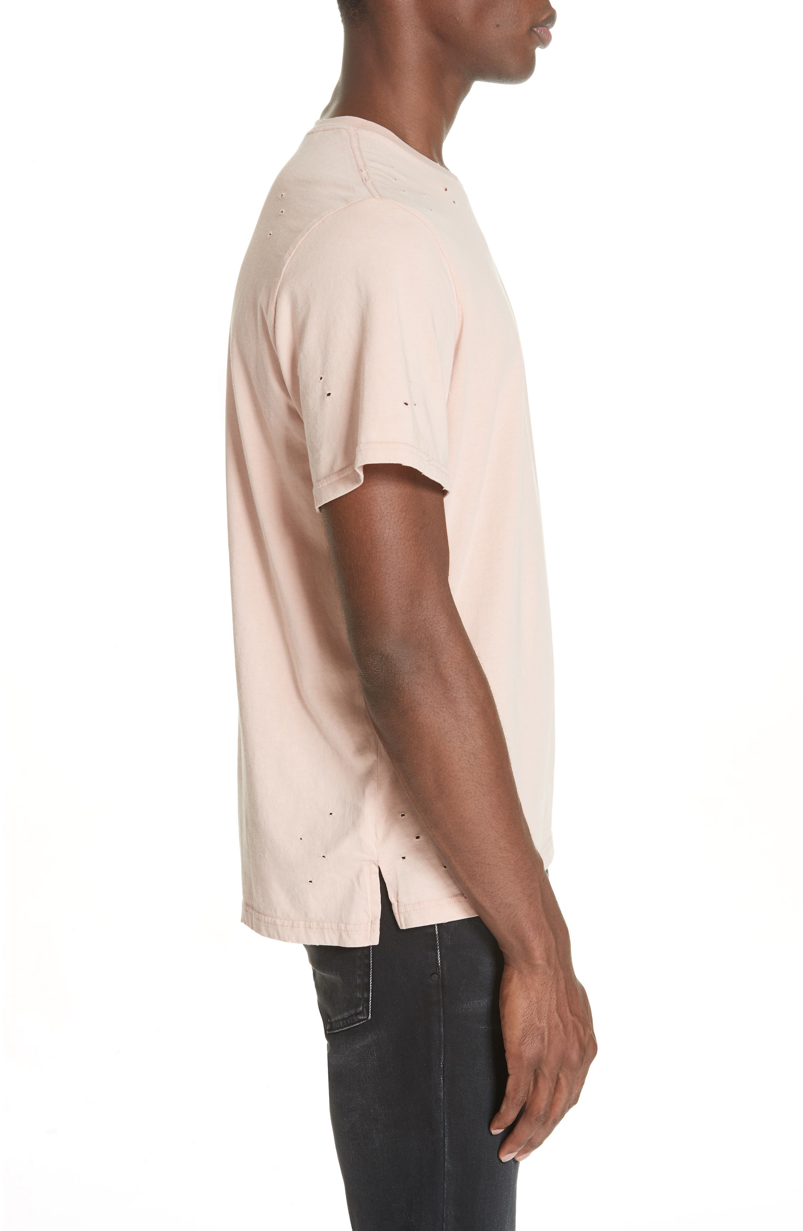 Distressed Crewneck T-Shirt,                             Alternate thumbnail 3, color,                             SALMON