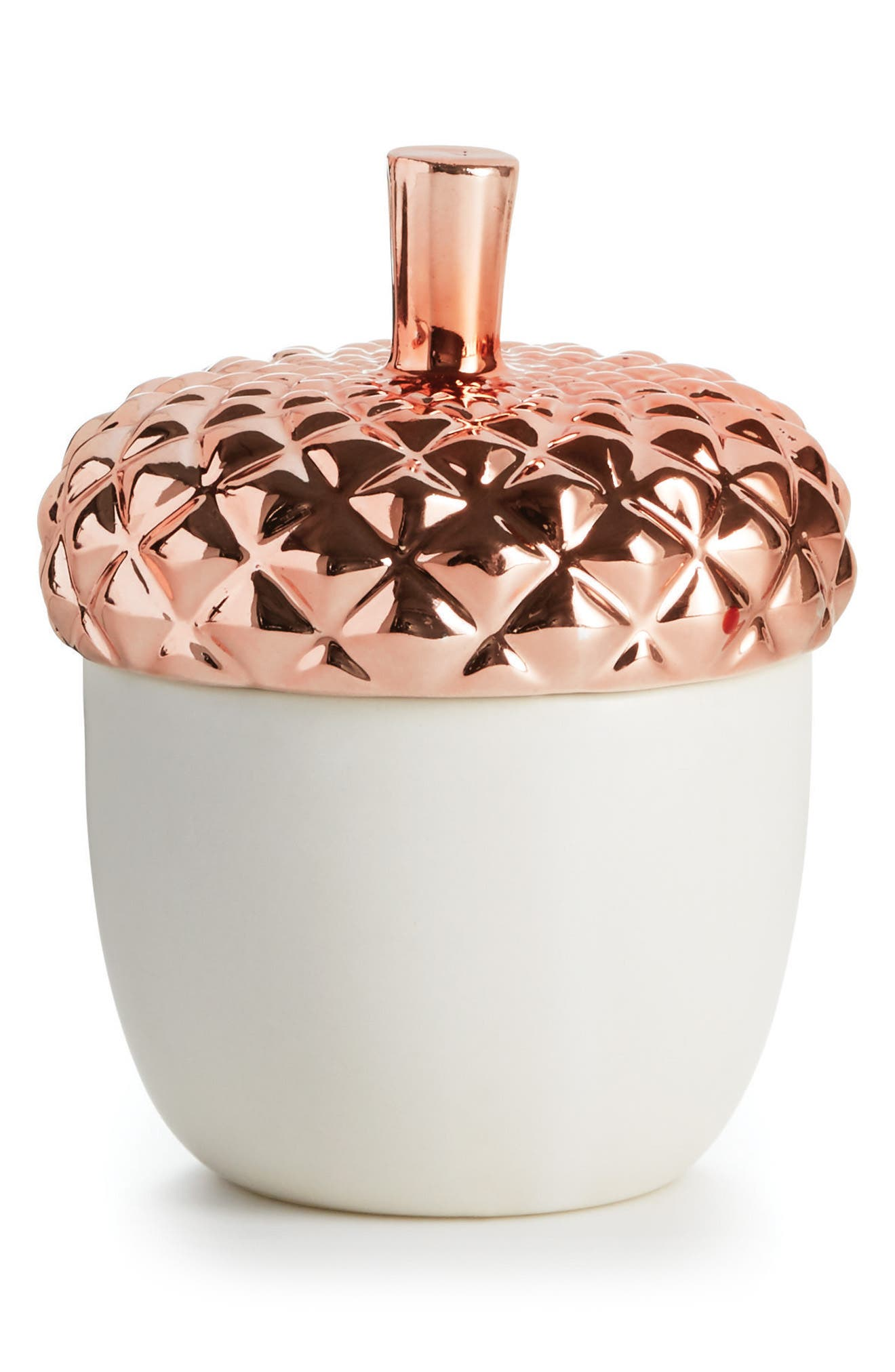 Copper Leaves Lidded Ceramic Candle,                             Main thumbnail 1, color,                             CHESTNUTS/ CINNAMON
