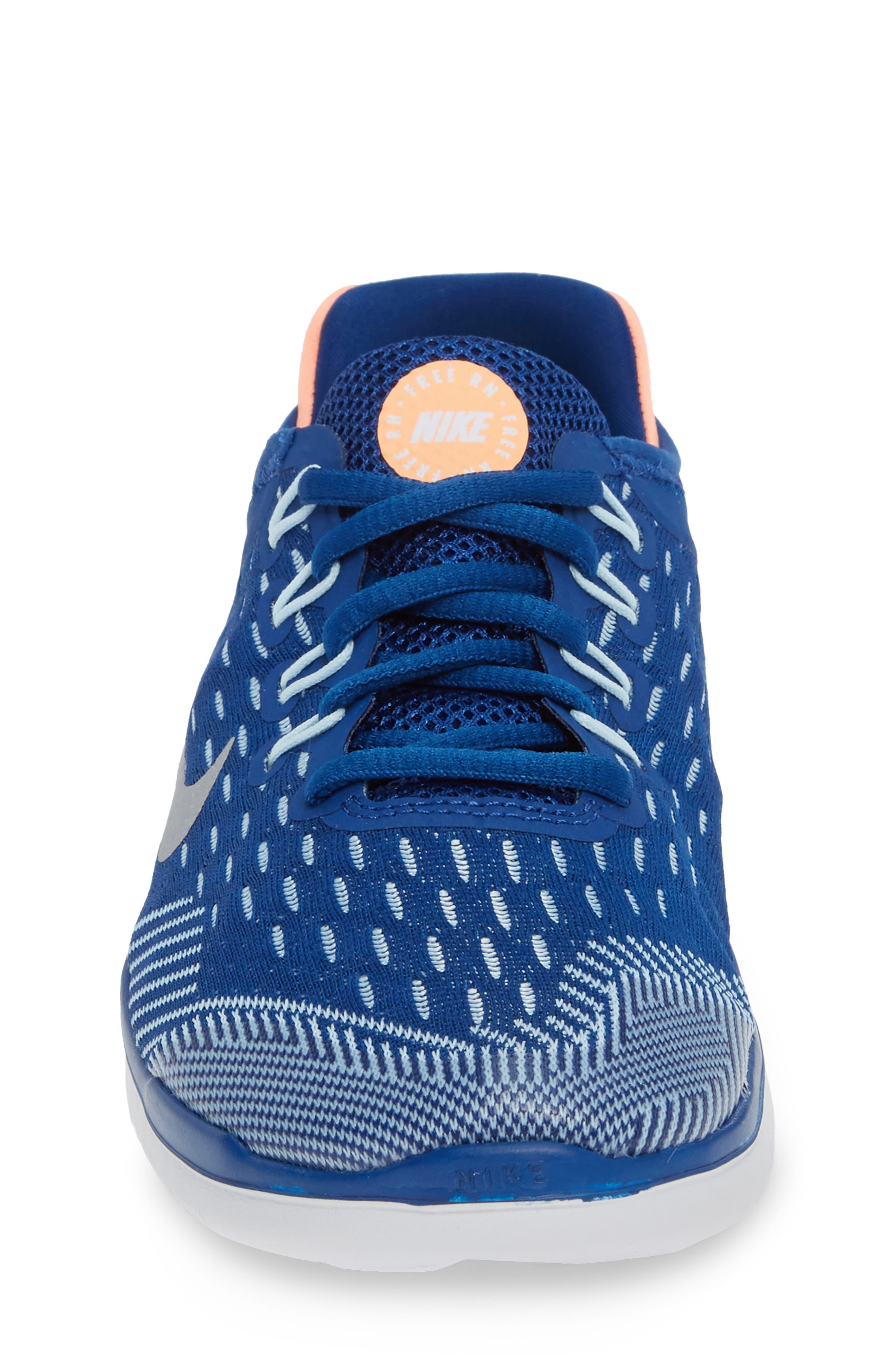 Free RN 2018 Running Shoe,                             Alternate thumbnail 4, color,                             GYM BLUE/ METALLIC SILVER