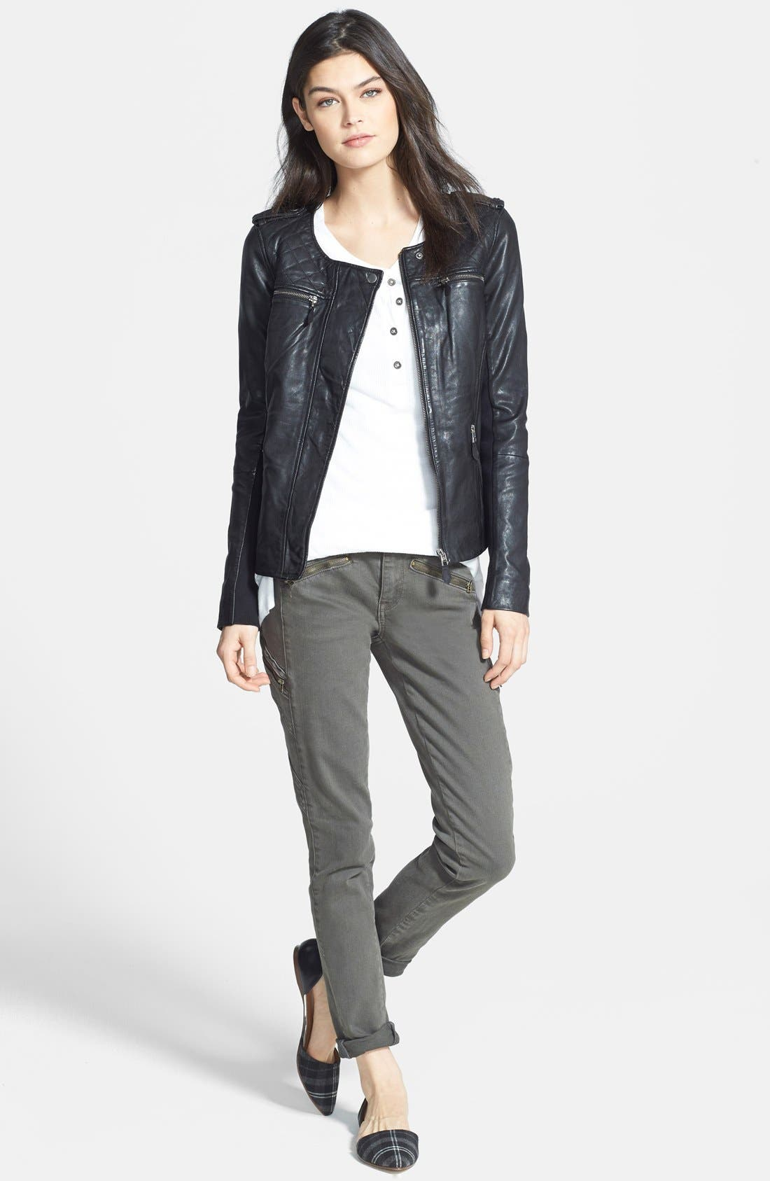 Quilted Leather Jacket,                             Alternate thumbnail 3, color,                             002