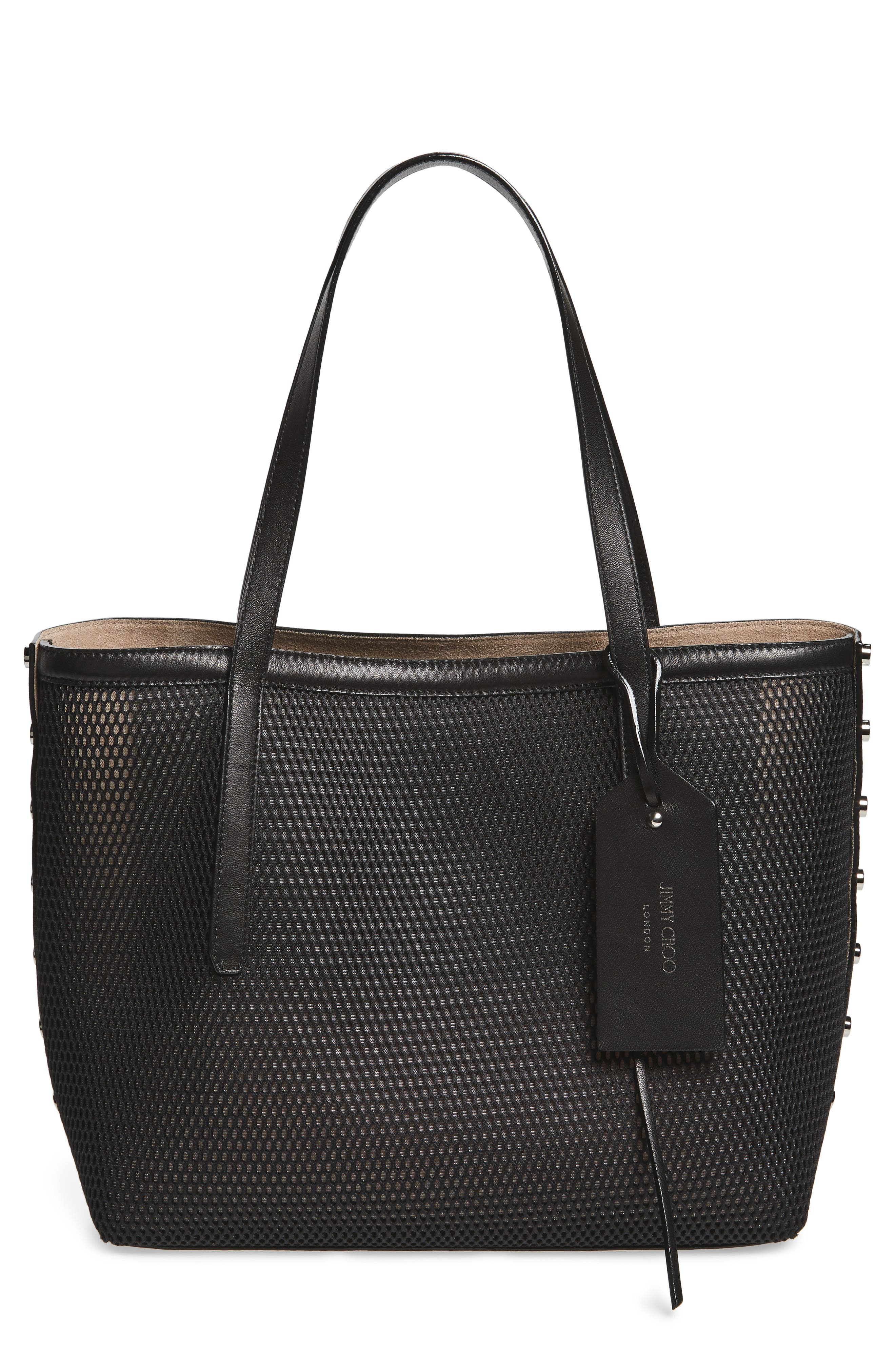 Twist East West Mesh Tote,                             Main thumbnail 1, color,                             001