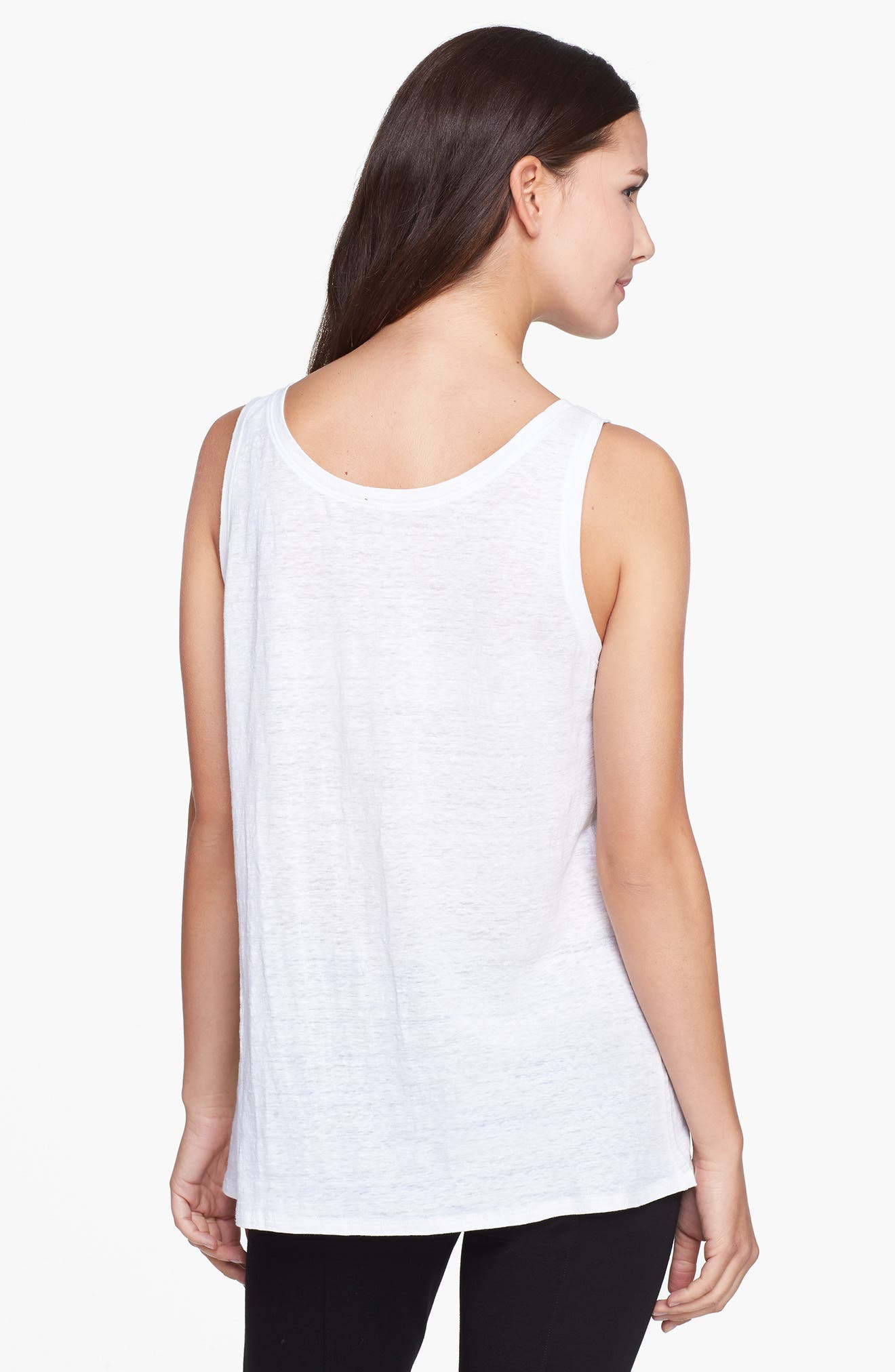 U-Neck Organic Linen Tank,                             Alternate thumbnail 2, color,                             WHITE