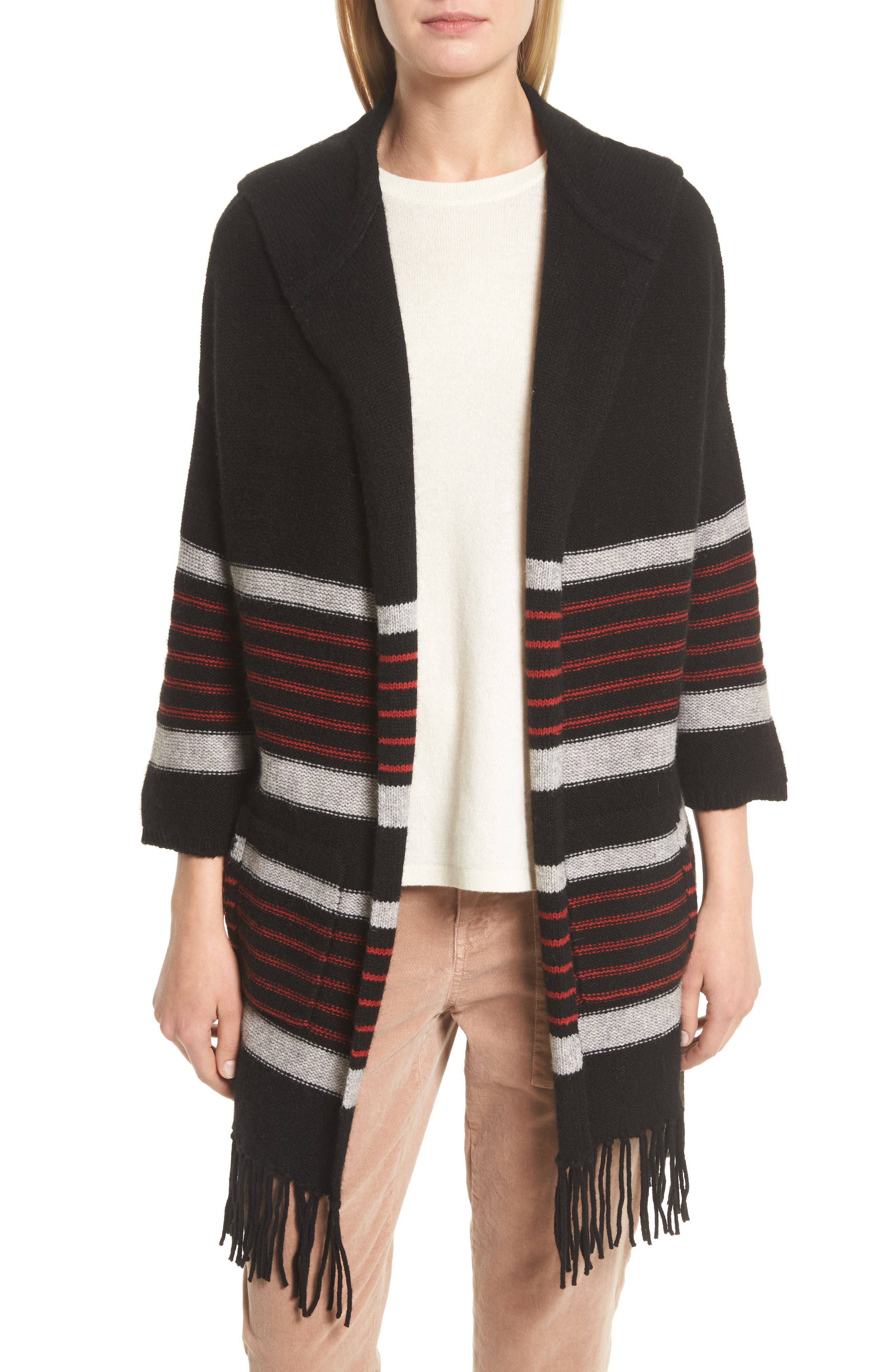 Gabrina Stripe Open Front Hoodie,                             Main thumbnail 1, color,