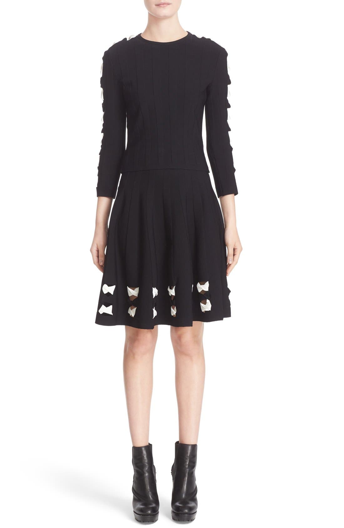 Twisted Cutout Skirt,                             Alternate thumbnail 3, color,                             001