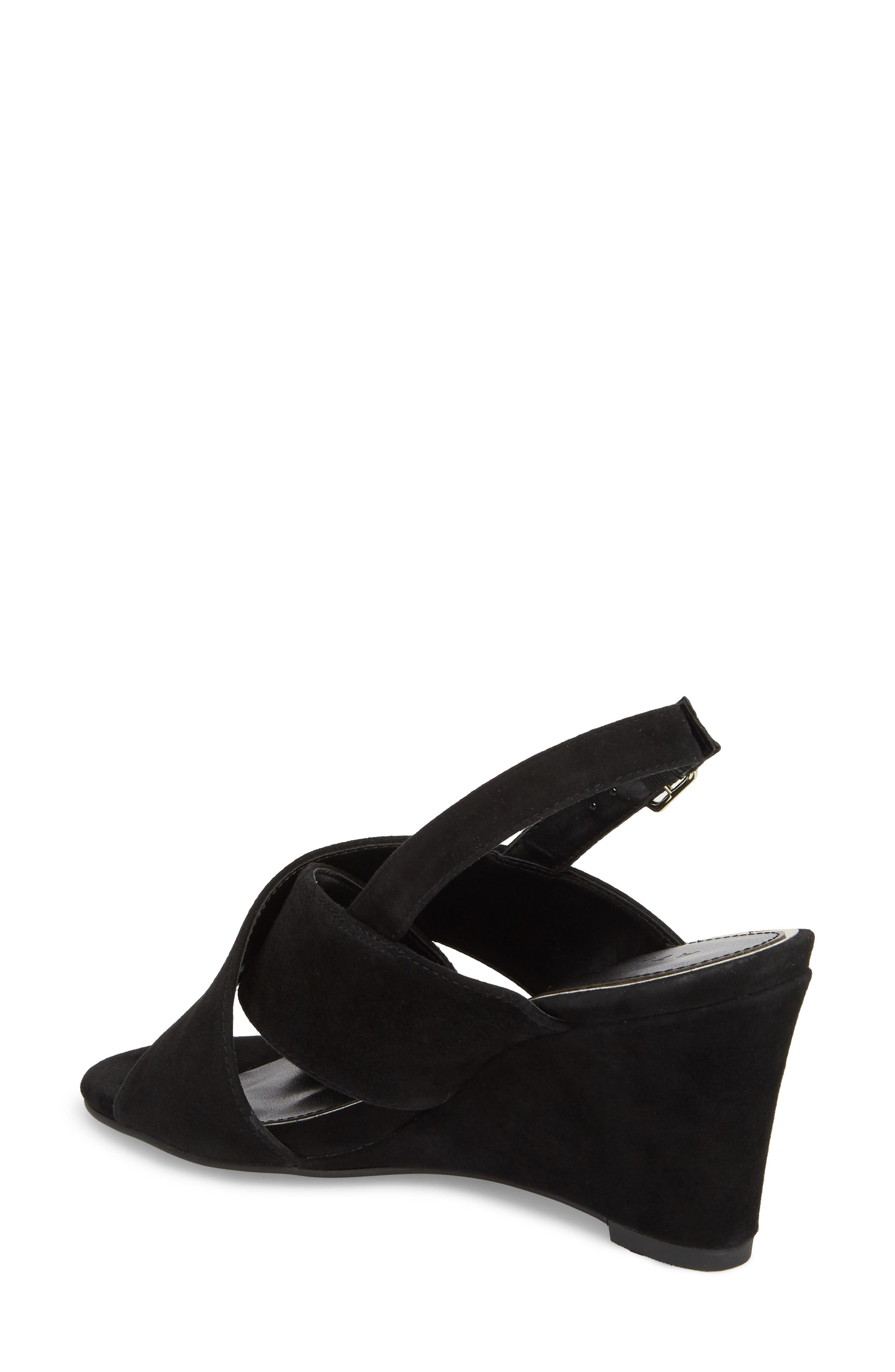 Eastford Wedge Sandal,                             Alternate thumbnail 2, color,                             BLACK SUEDE