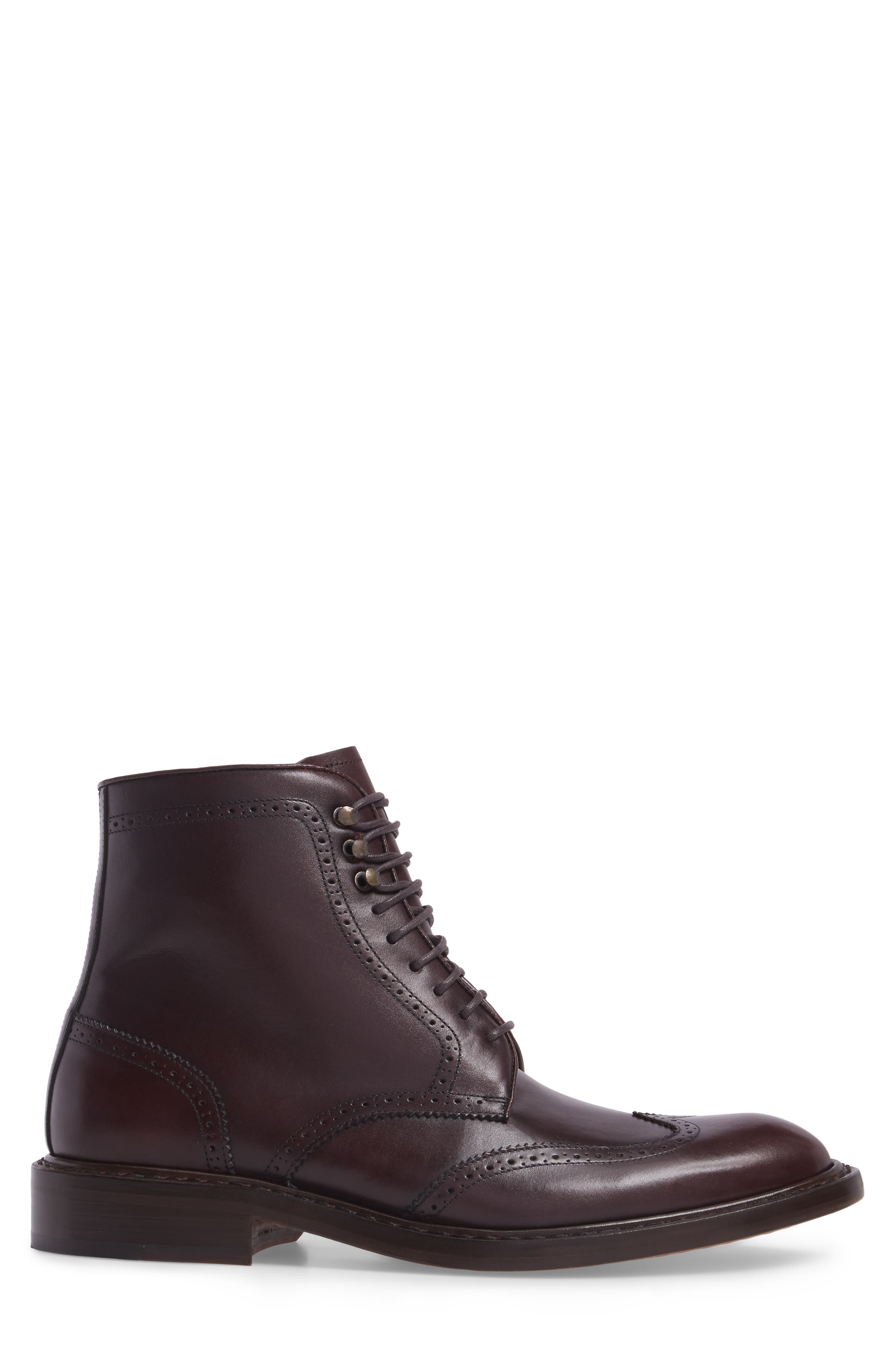 Carter Wingtip Boot,                             Alternate thumbnail 3, color,                             BURGUNDY LEATHER