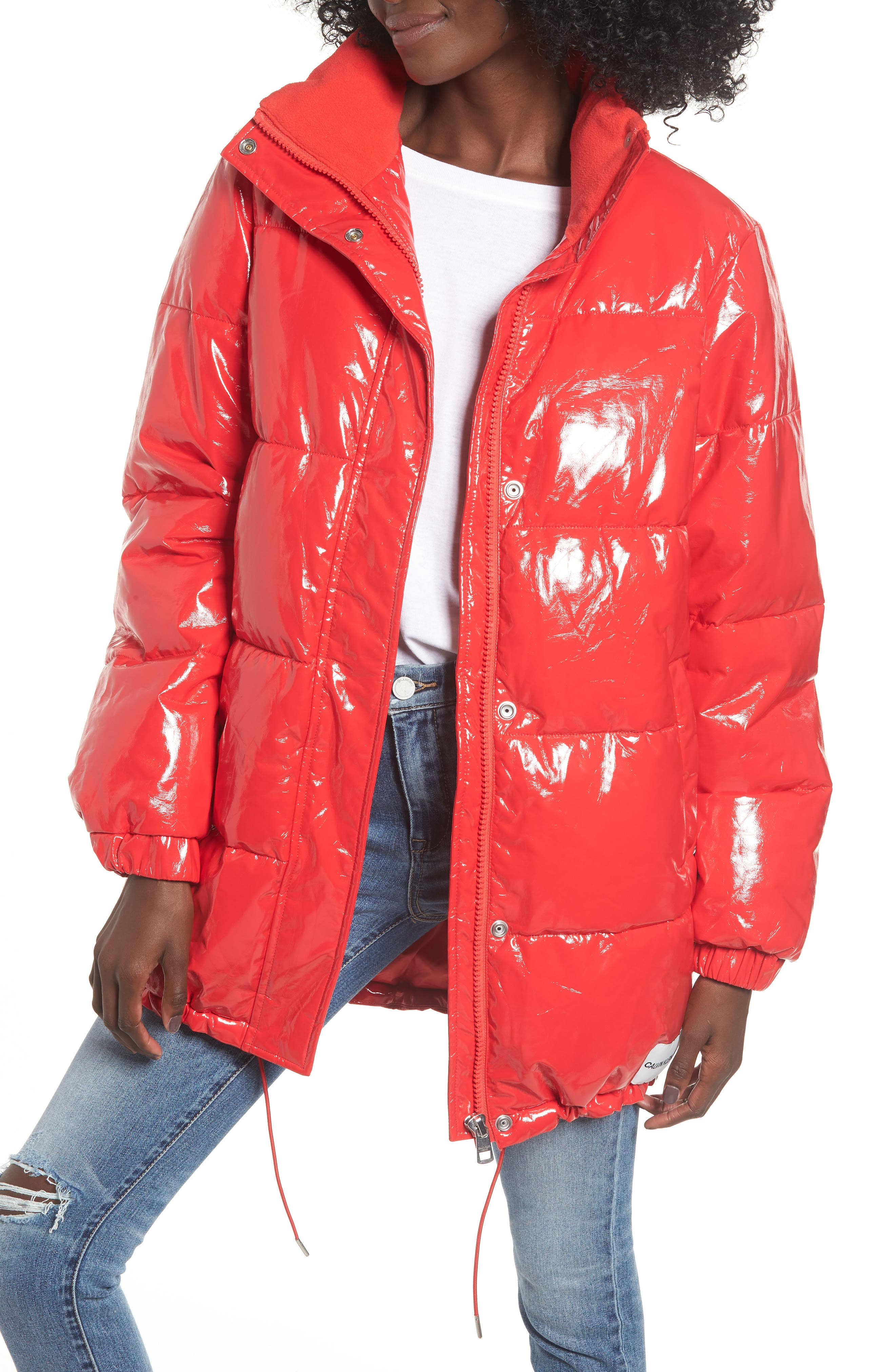 Glossy Puffer Jacket,                         Main,                         color, TOMATO