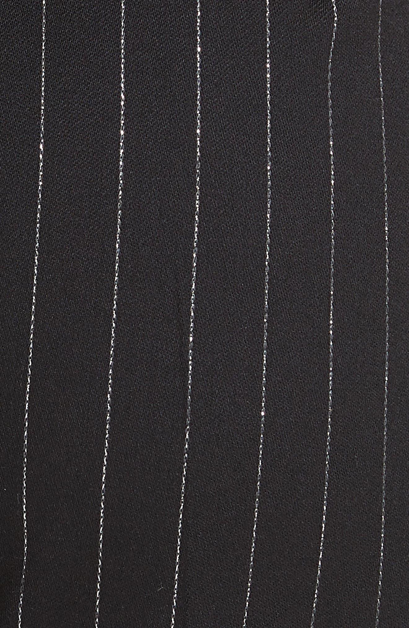 Metallic Pinstripe High Waist Skinny Wool Pants,                             Alternate thumbnail 6, color,                             BLACK