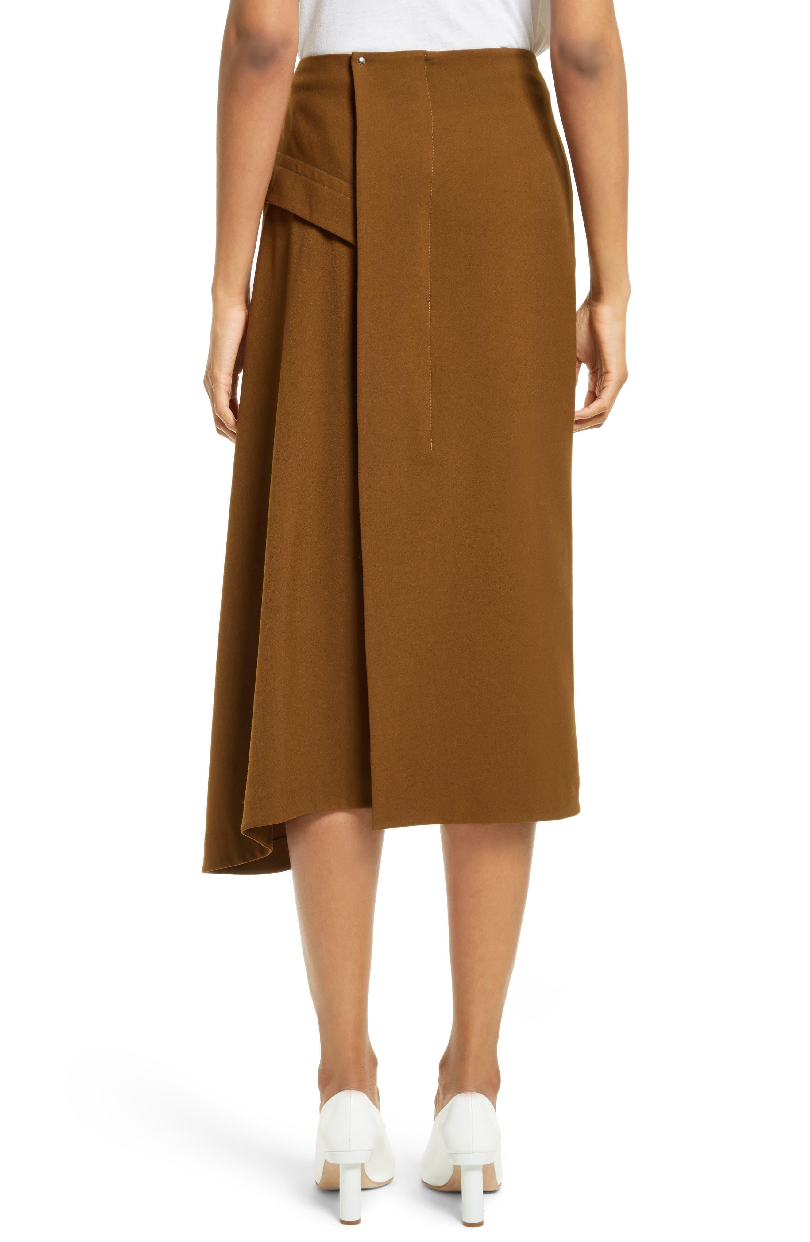 Draped Twill Skirt,                             Alternate thumbnail 2, color,                             200