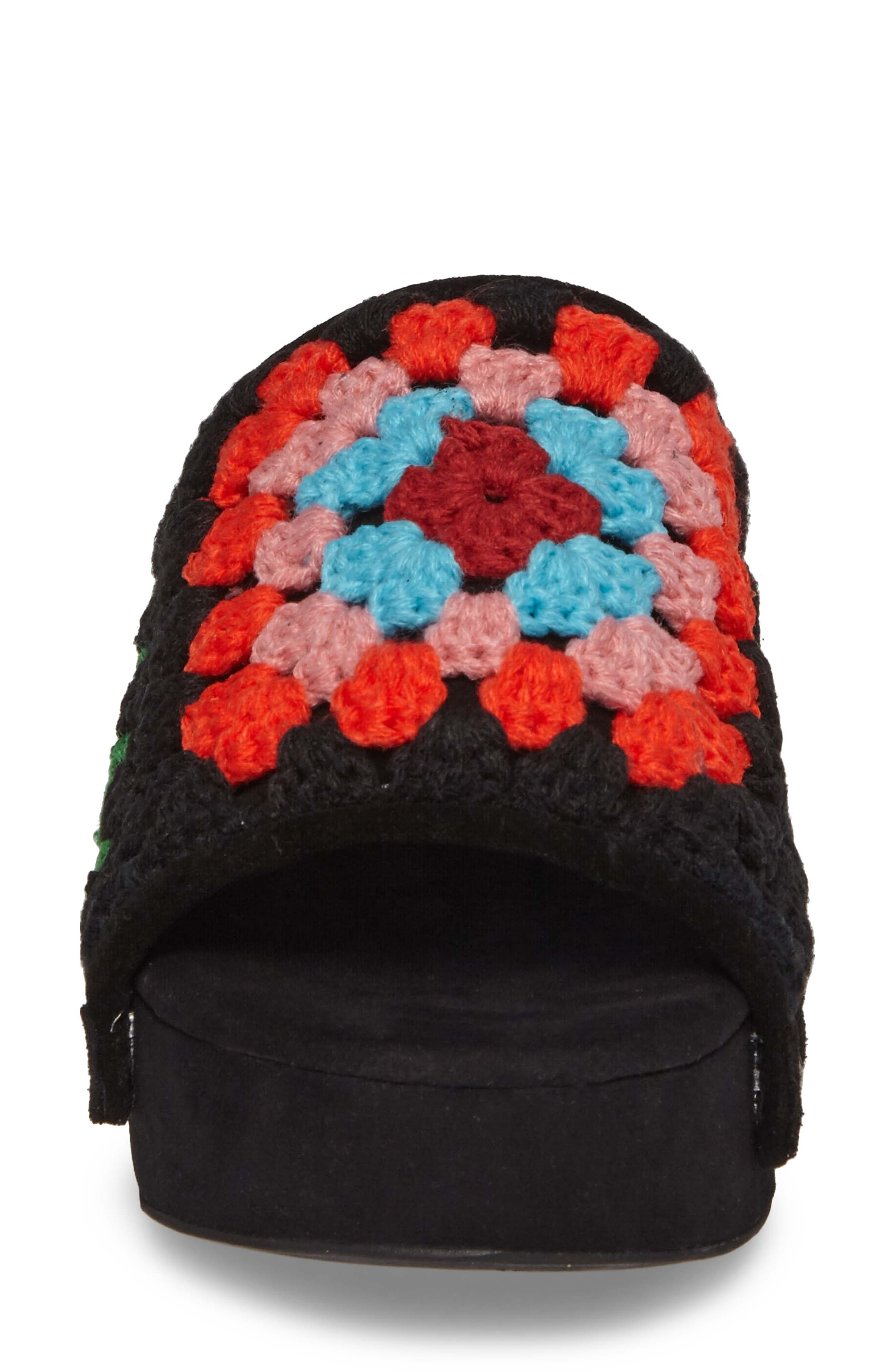 Nonna Crocheted Platform Slide Sandal,                             Alternate thumbnail 4, color,