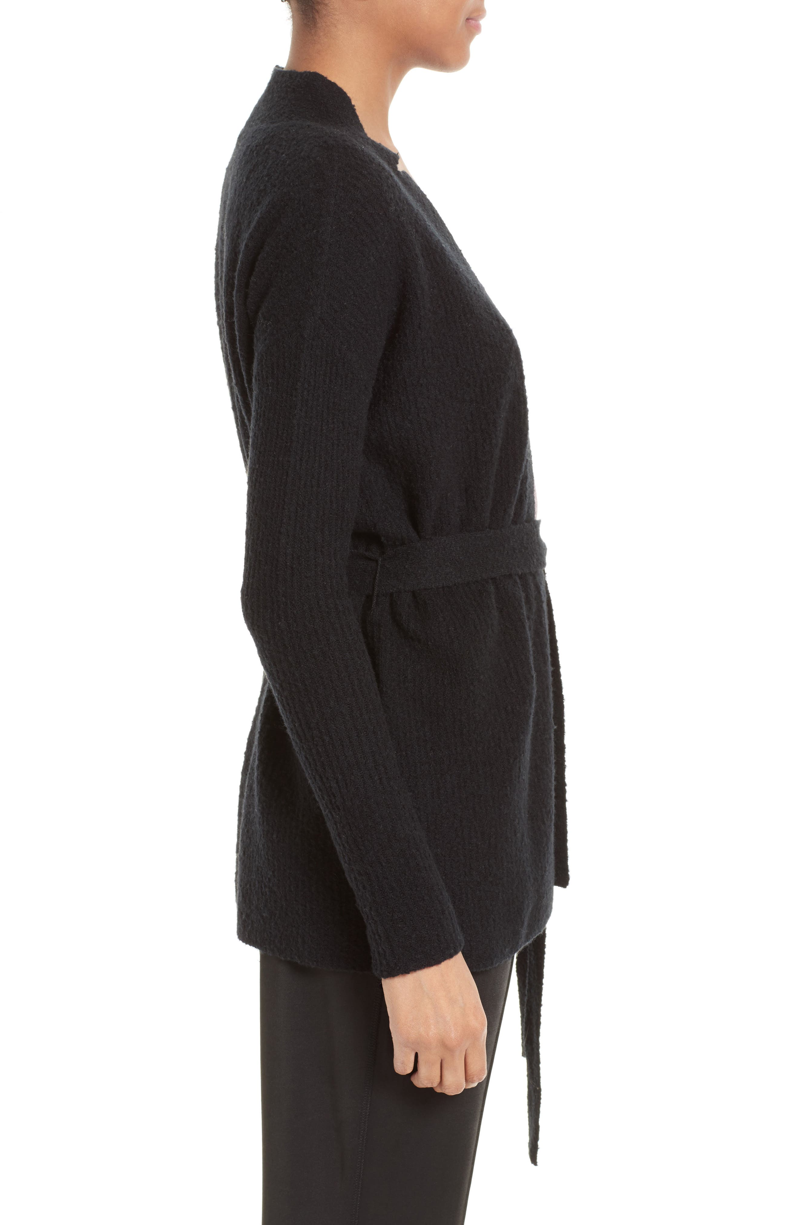 Wool Blend Belted Cardigan,                             Alternate thumbnail 3, color,                             001