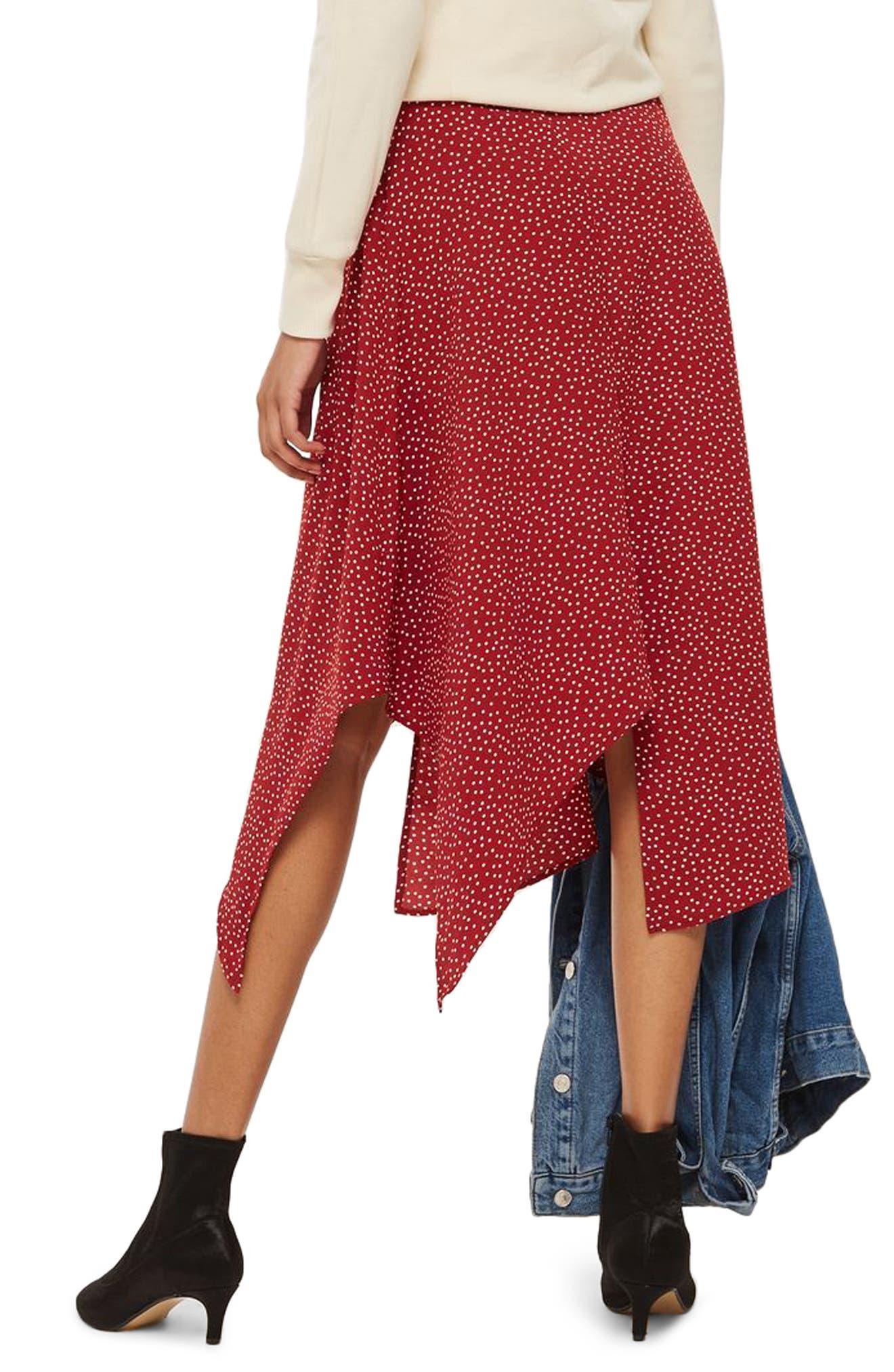 Polka Dot Handkerchief Hem Skirt,                             Alternate thumbnail 2, color,