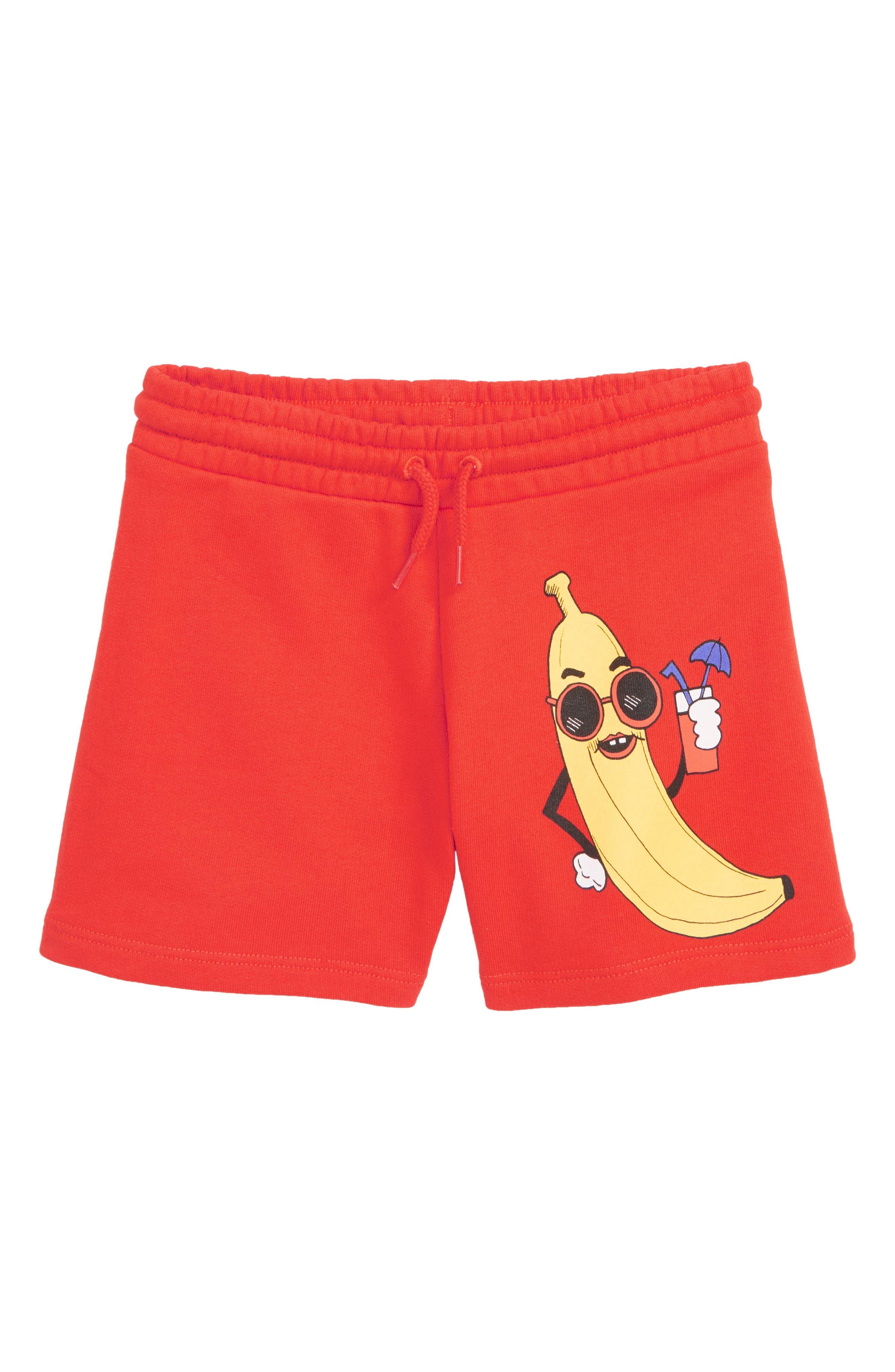 MINI RODINI,                             Banana Sweat Shorts,                             Main thumbnail 1, color,                             RED