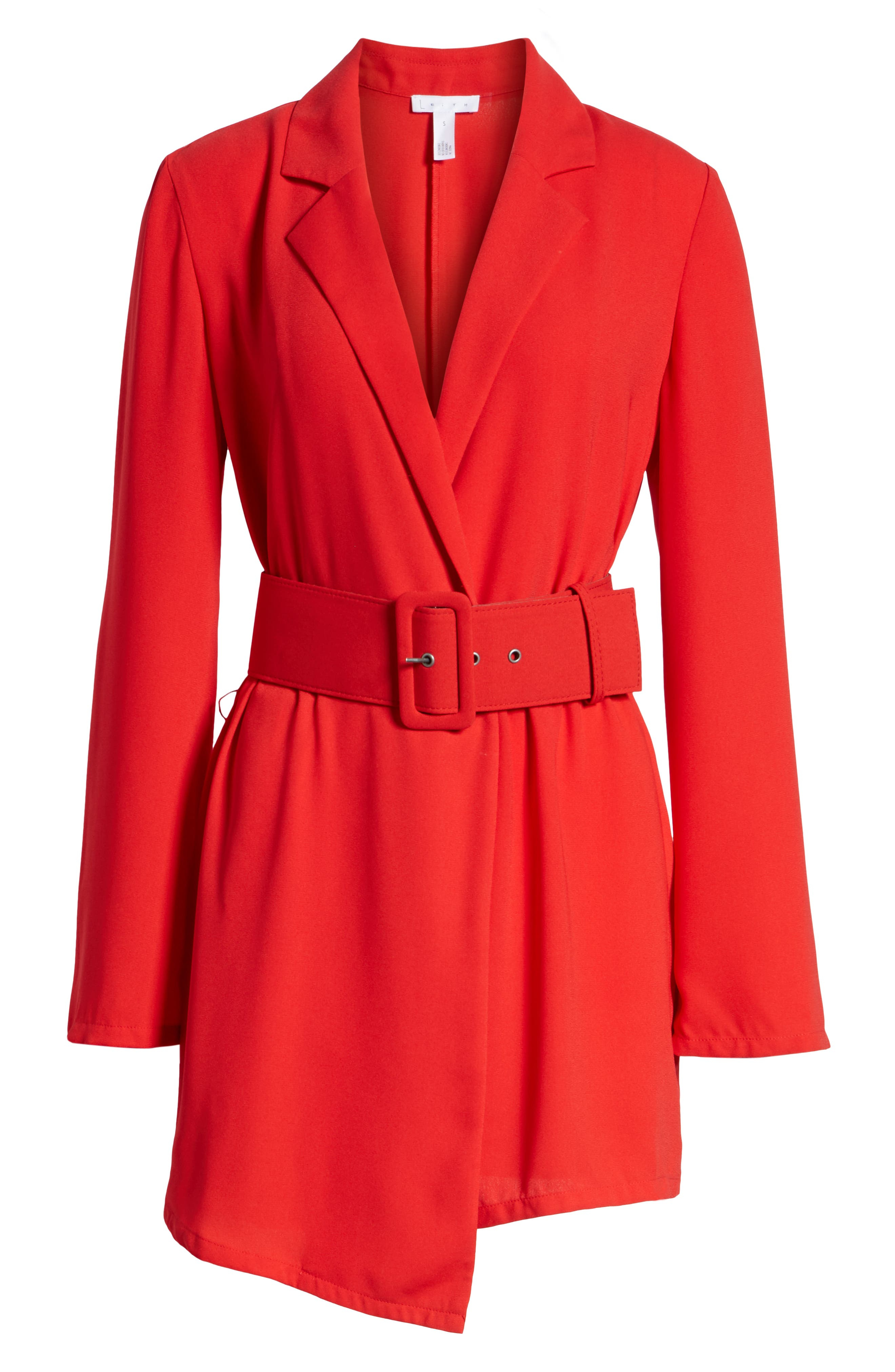 Belted Romper,                             Alternate thumbnail 7, color,                             RED CHINOISE