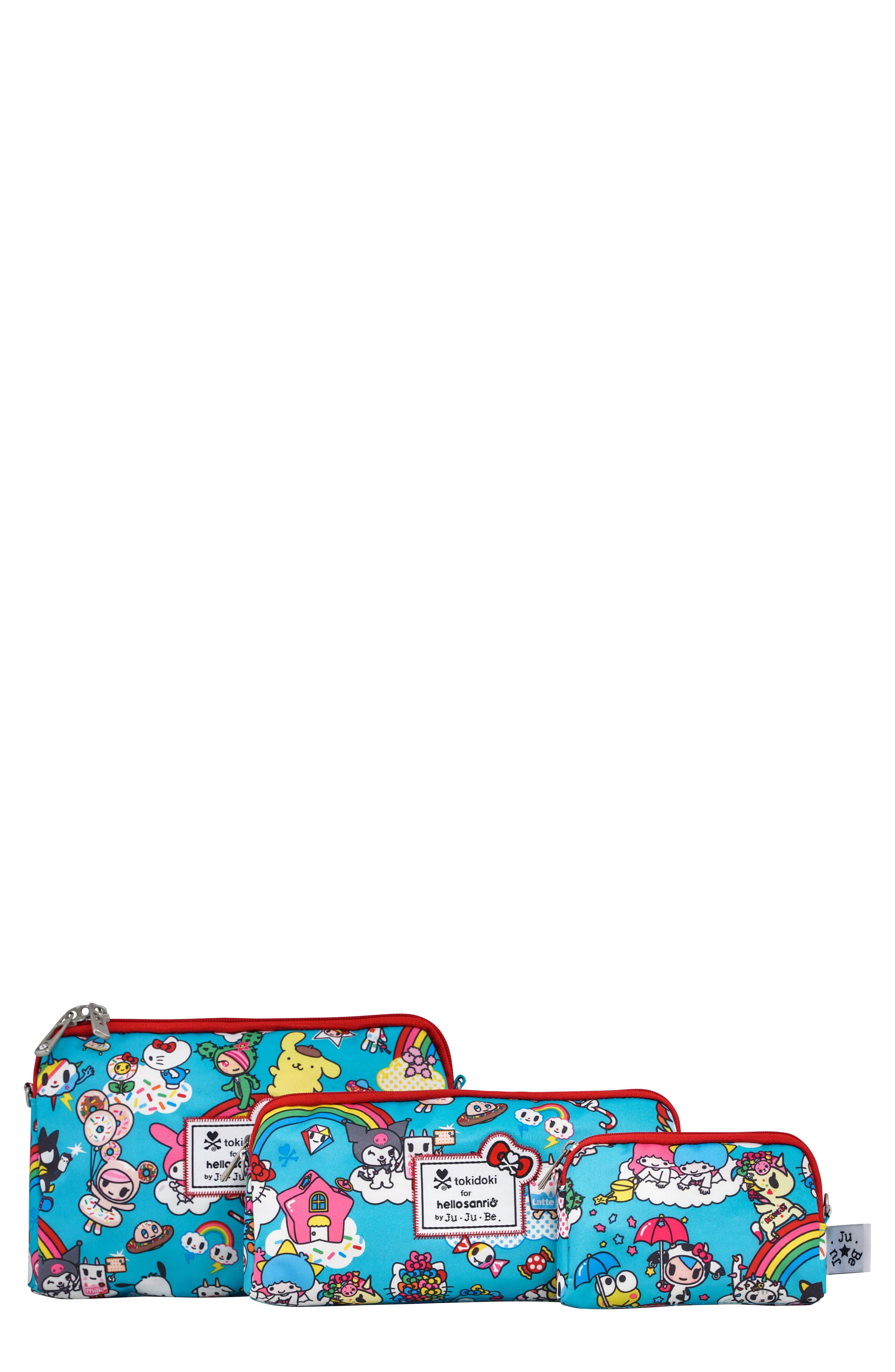 x tokidoki for Hello Sanrio Rainbow Dreams Be Organized Set of 3 Top Zip Cases,                             Main thumbnail 1, color,