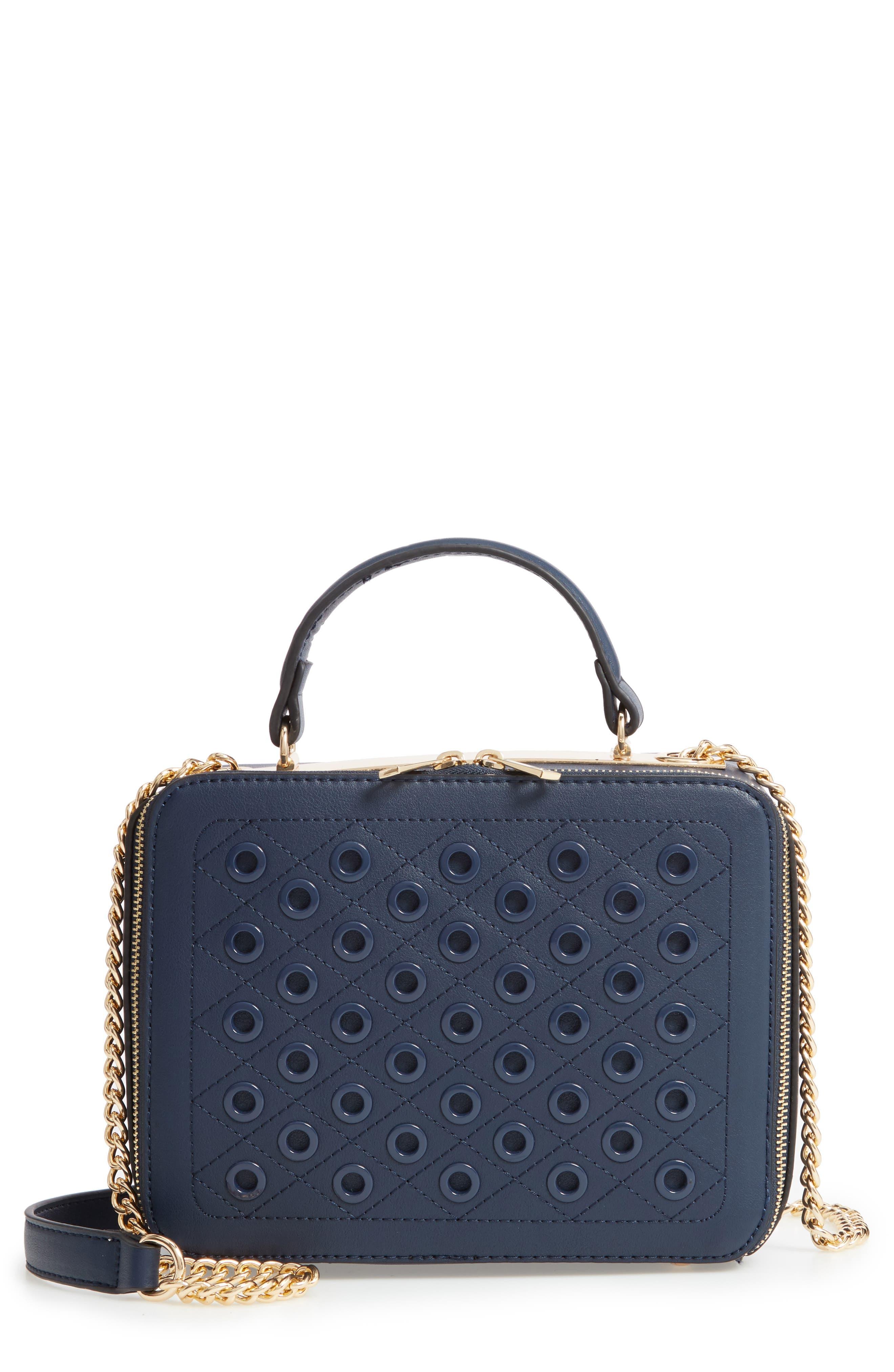 Grommet Detail Faux Leather Crossbody Bag,                             Main thumbnail 1, color,                             400