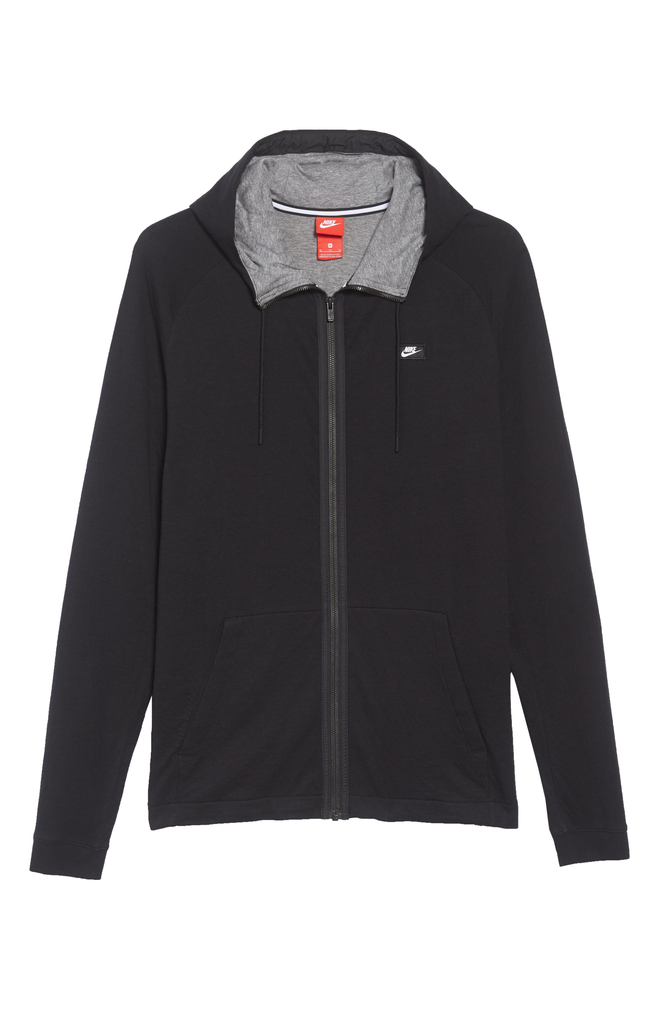 Tech Regular Fit Fleece Hoodie,                             Alternate thumbnail 6, color,                             BLACK/ CARBON HEATHER