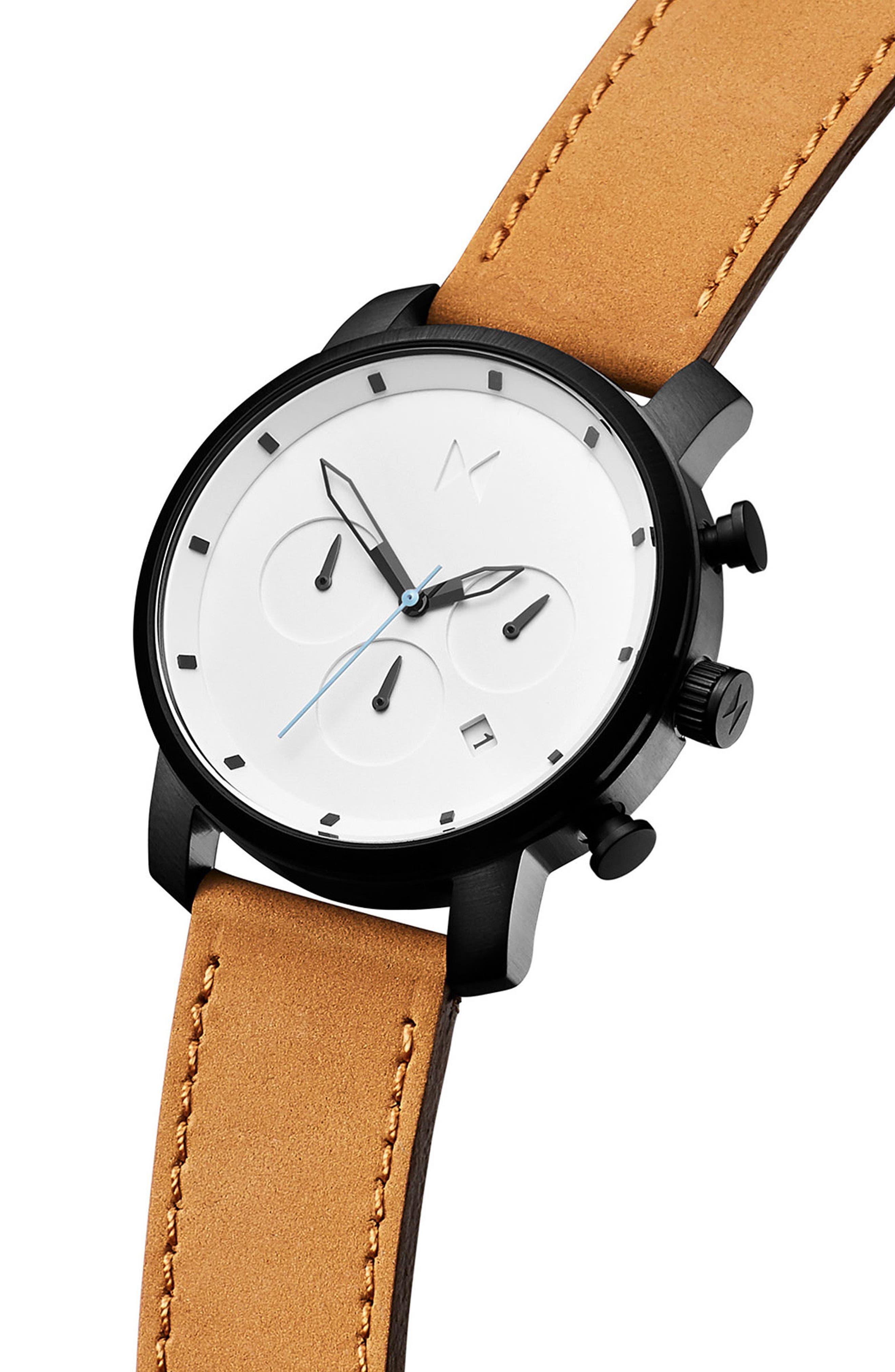 Chrono Chronograph Leather Strap Watch, 40mm,                             Alternate thumbnail 3, color,                             WHITE/ TAN