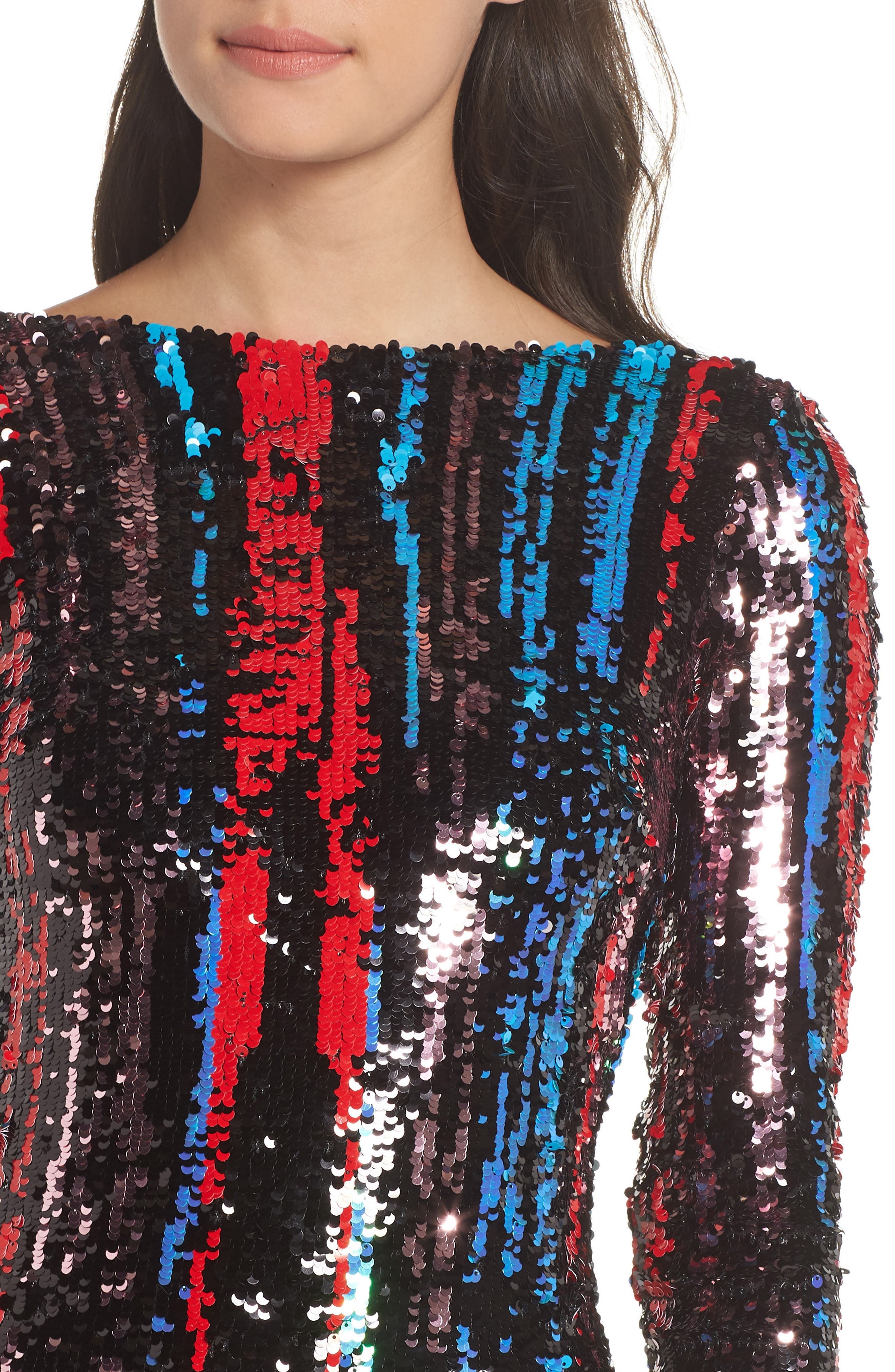 Emery Scoop Back Dress,                             Alternate thumbnail 6, color,                             ROUGE RED MULTI