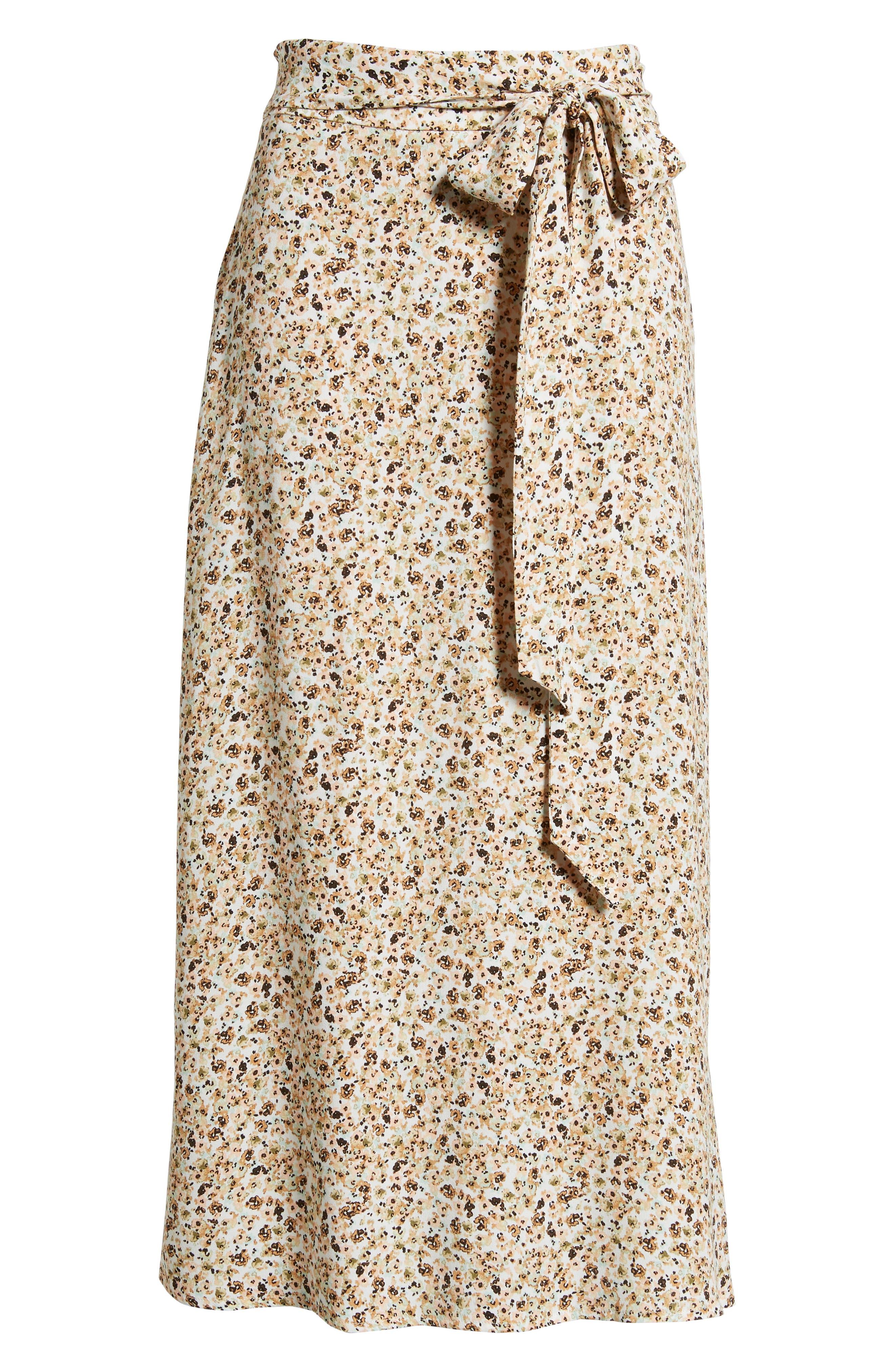 Mia Ruffle Midi Skirt,                             Alternate thumbnail 6, color,                             BEIGE DITSY
