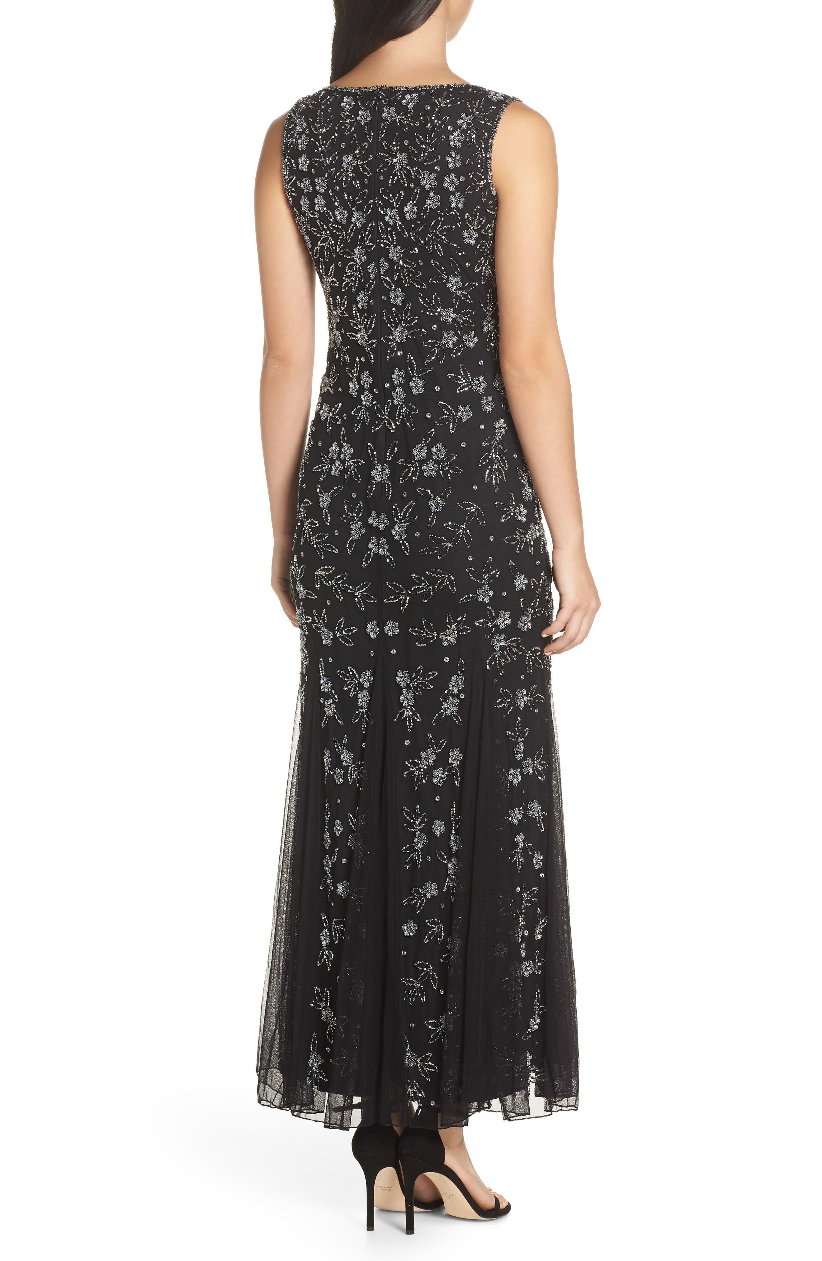 Beaded Godet Gown,                             Alternate thumbnail 2, color,                             BLACK