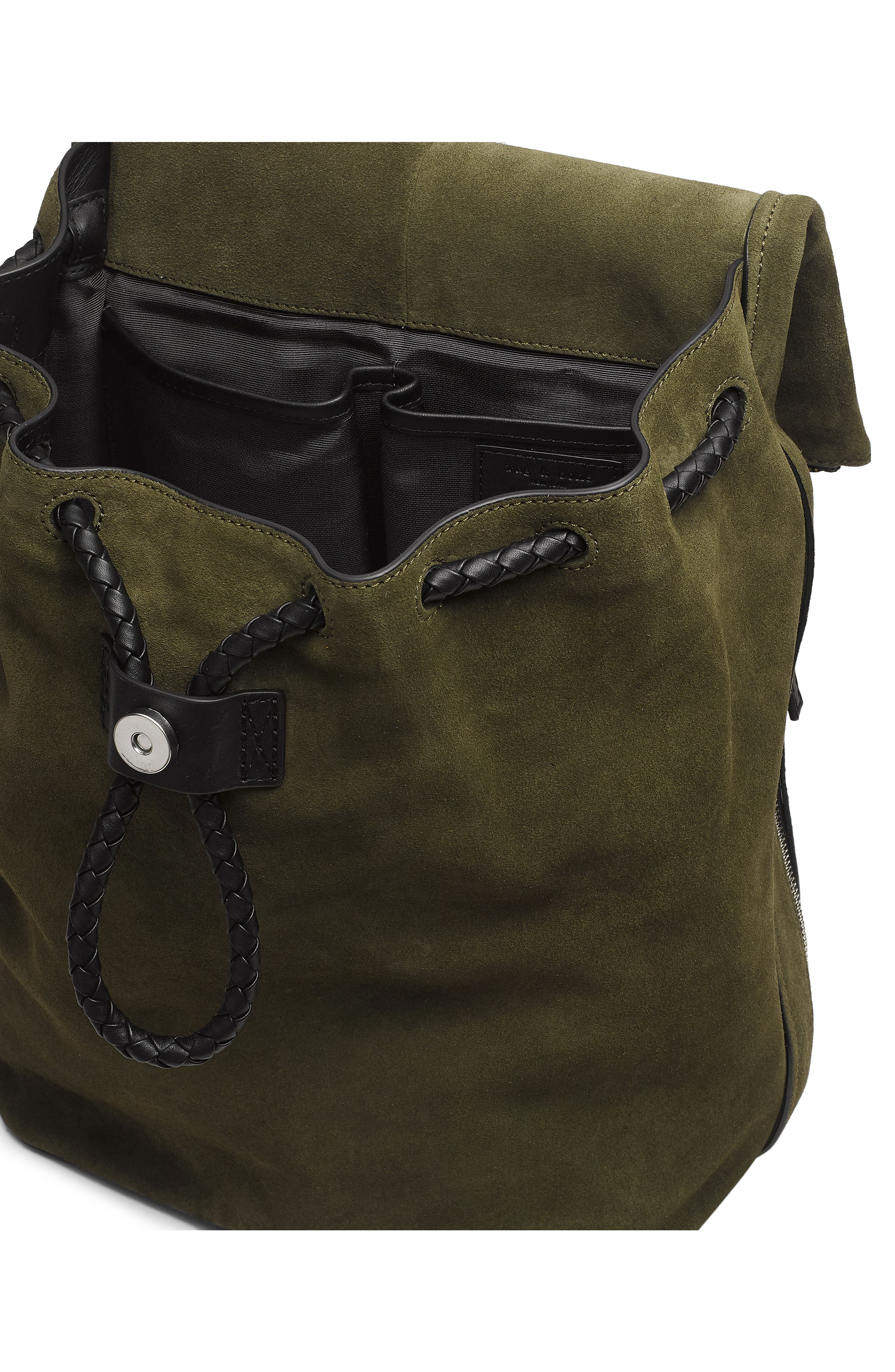 Loner Leather Backpack,                             Alternate thumbnail 4, color,                             OLIVE NIGHT SUEDE